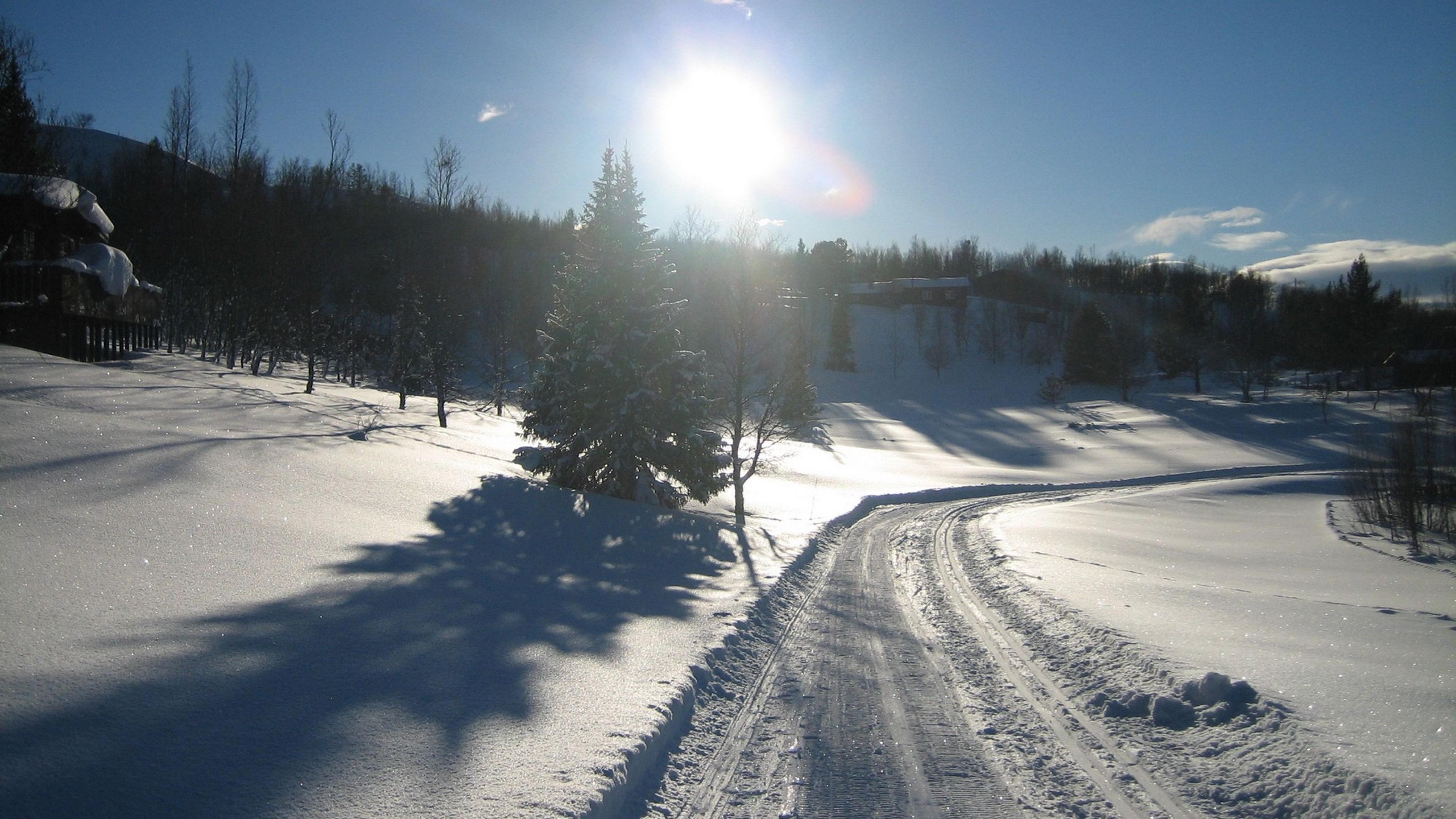 Wallpaper snow, road, winter