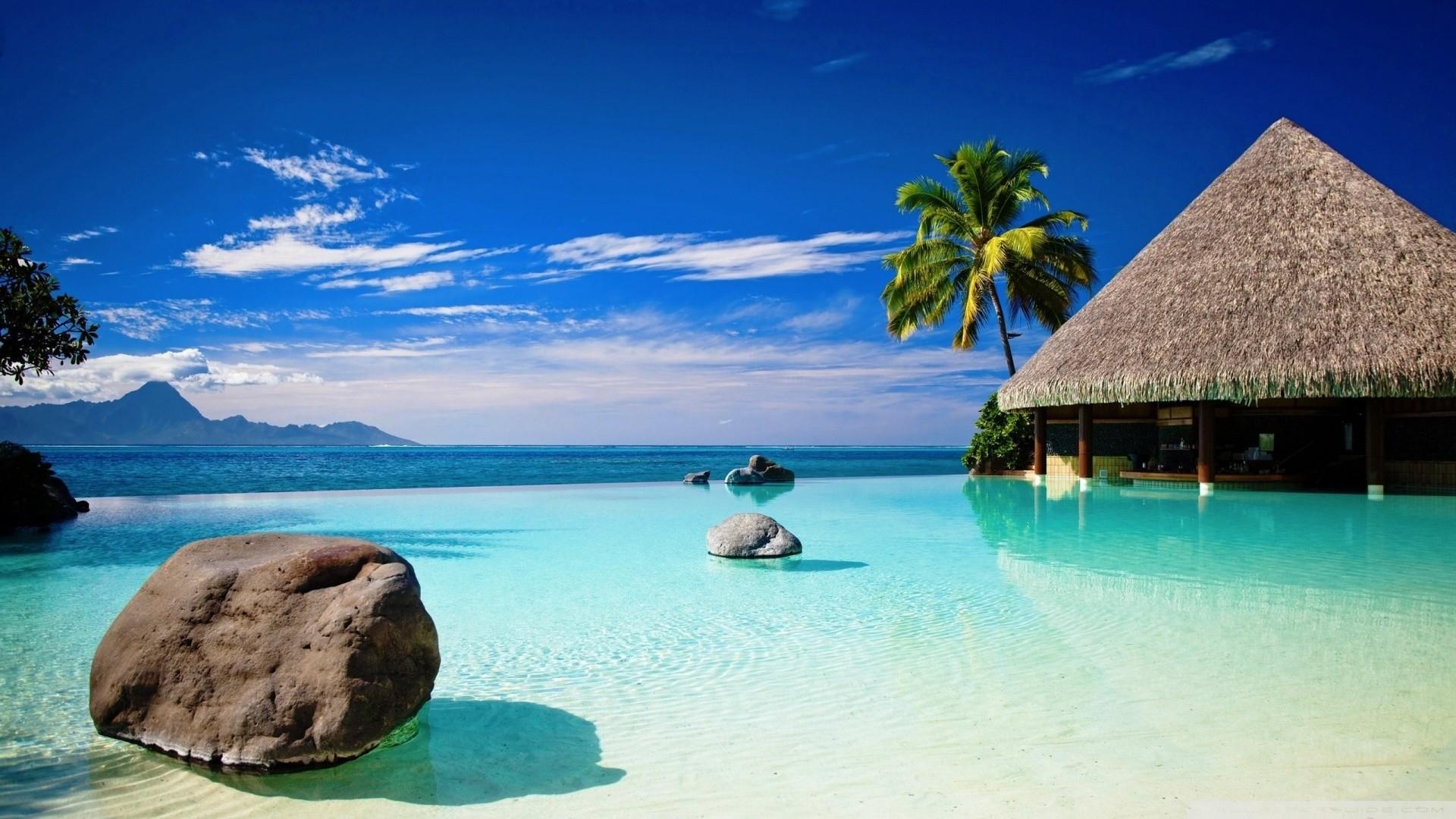 … bungalow in blue ocean water hd desktop wallpaper high …