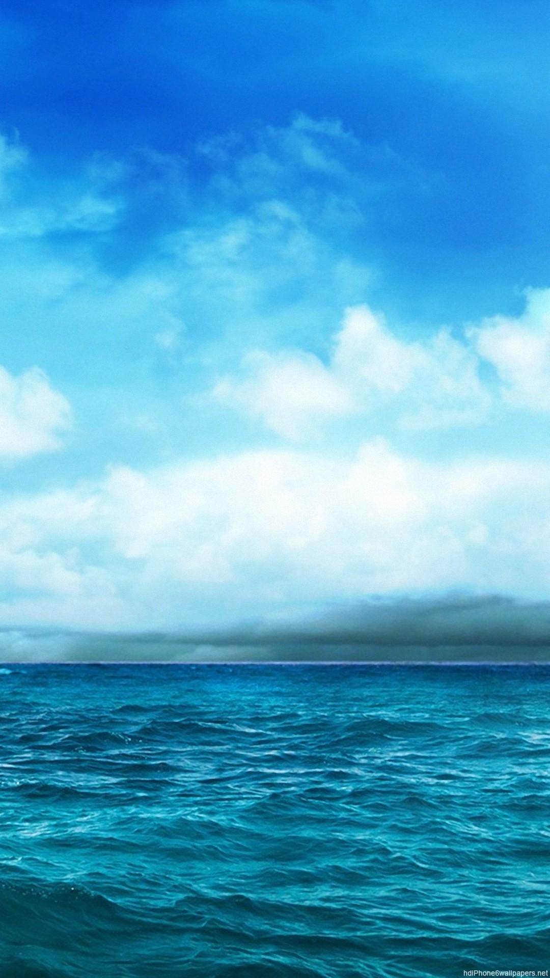 sea clouds sky ocean blue iphone 6 wallpapers