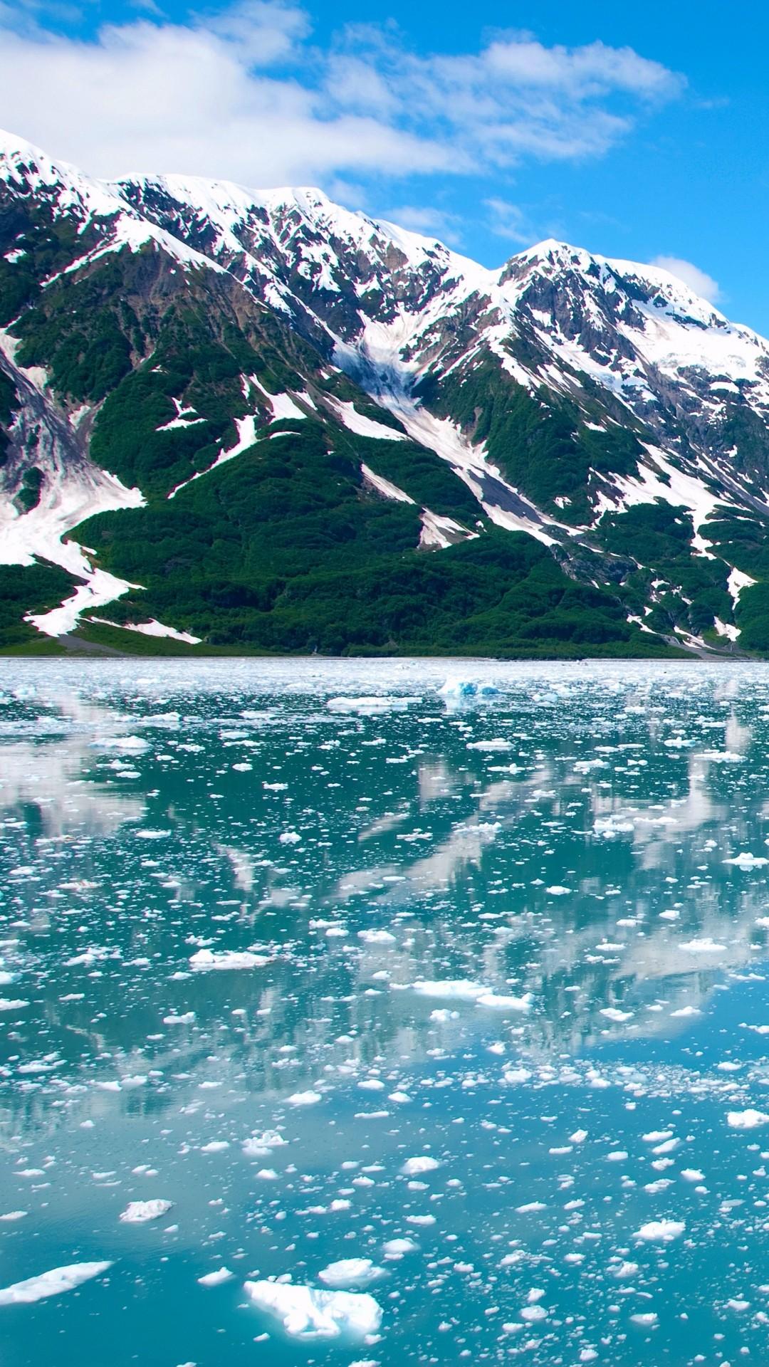Preview wallpaper alaska, glacier, mountains, sky 1080×1920