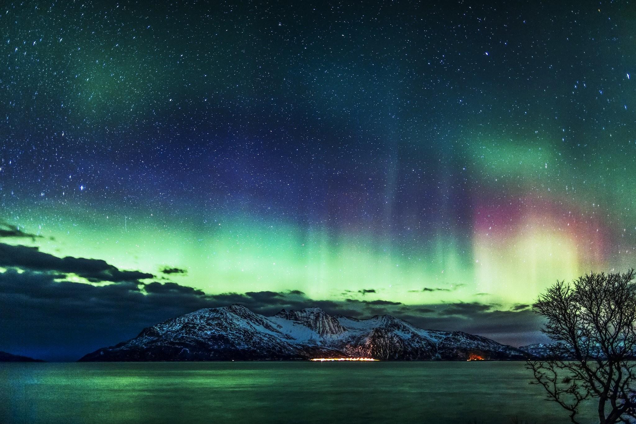 Alaska aurora aurora borealis northern lights Nature sky landscape .