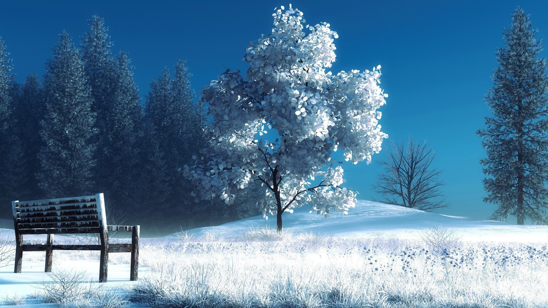 Preview wallpaper winter, landscape, nature, snow, bench, trees 1920×1080