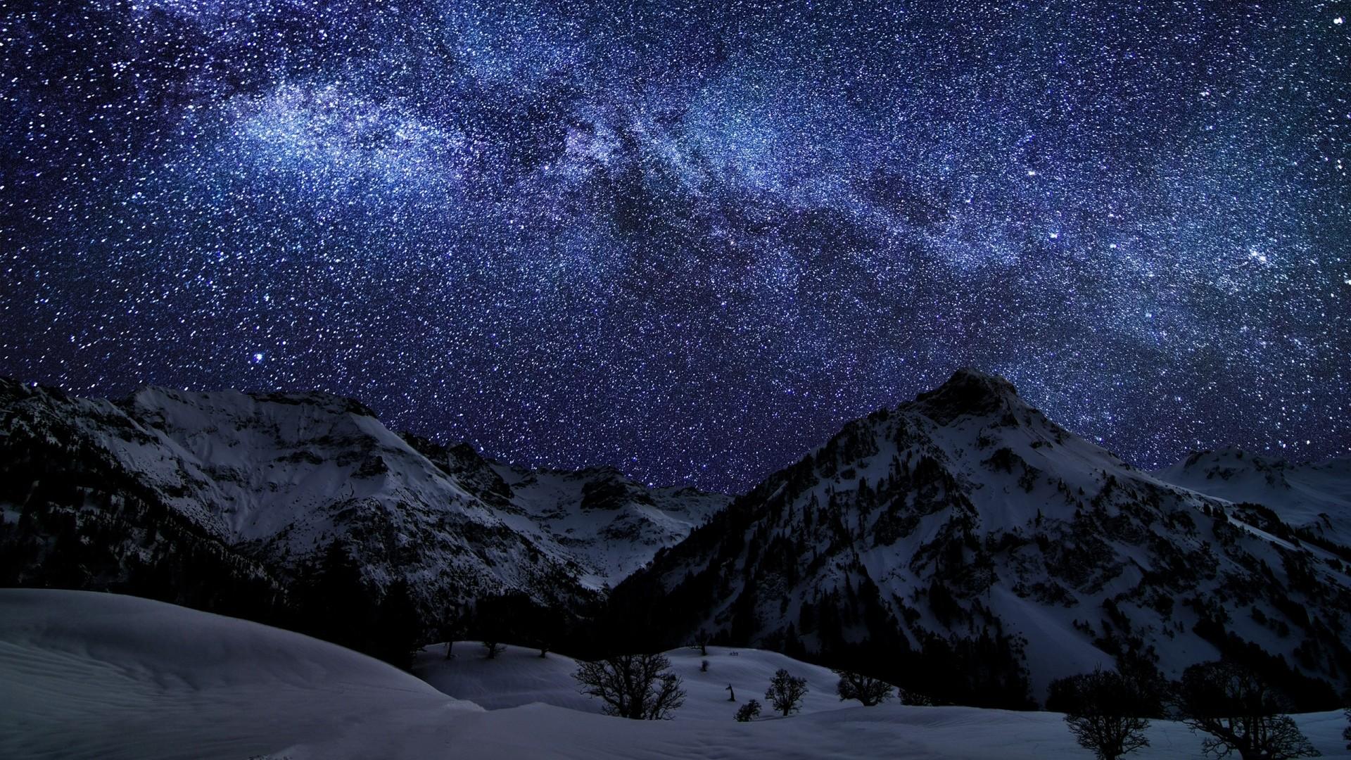 Preview wallpaper winter, sky, stars, nature, night 1920×1080