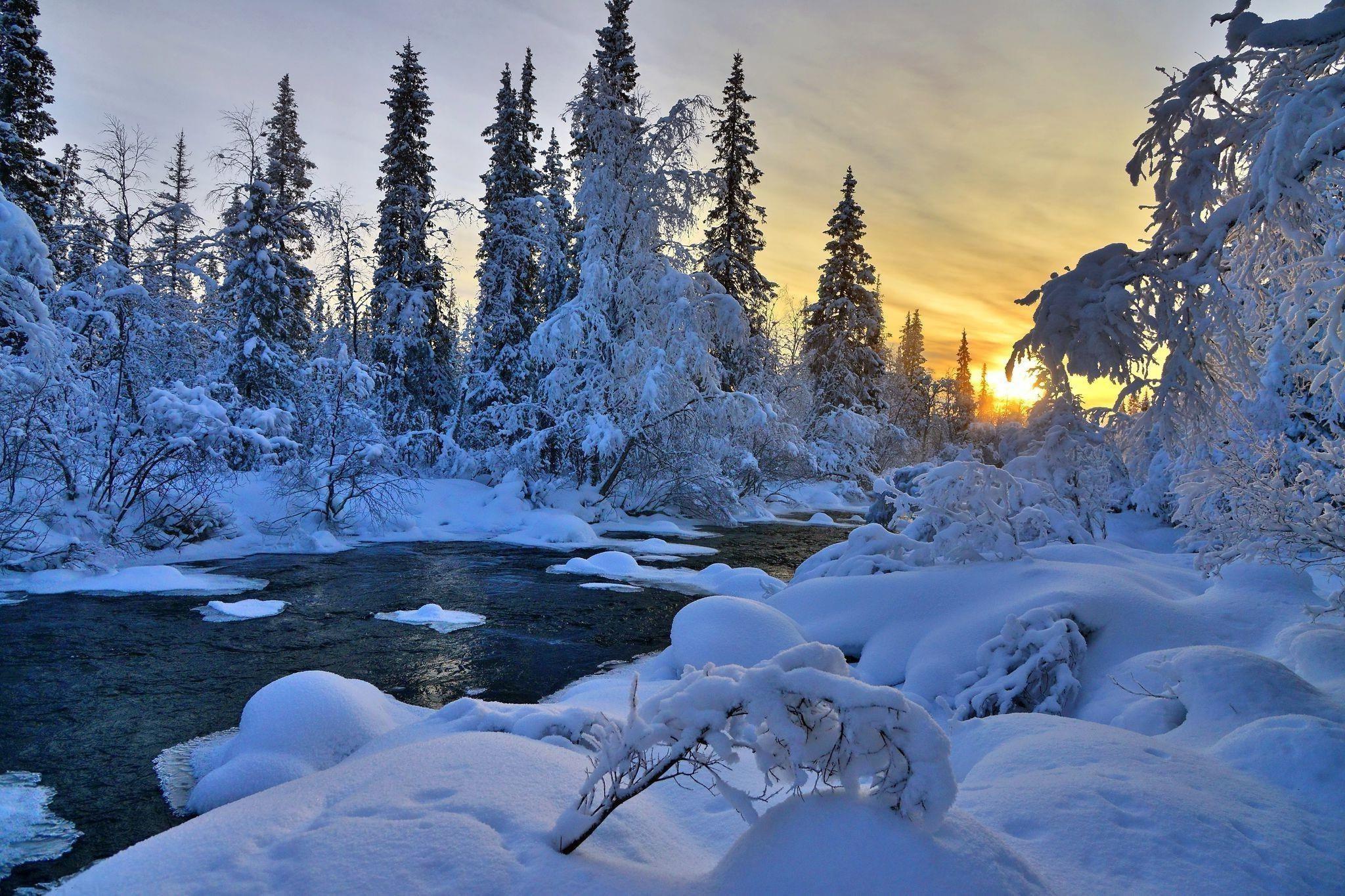 Winter River Nature Trees Landscape 1080p