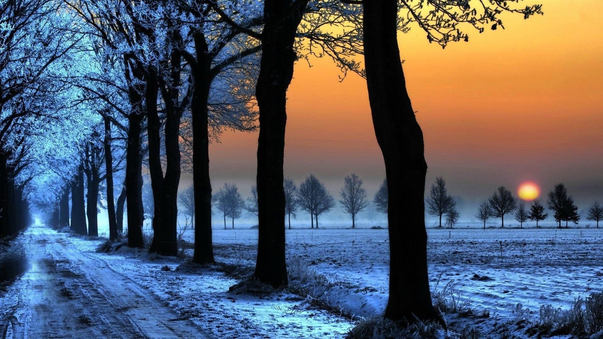 Winter Sunset HD Wallpaper 1920 x 1080p