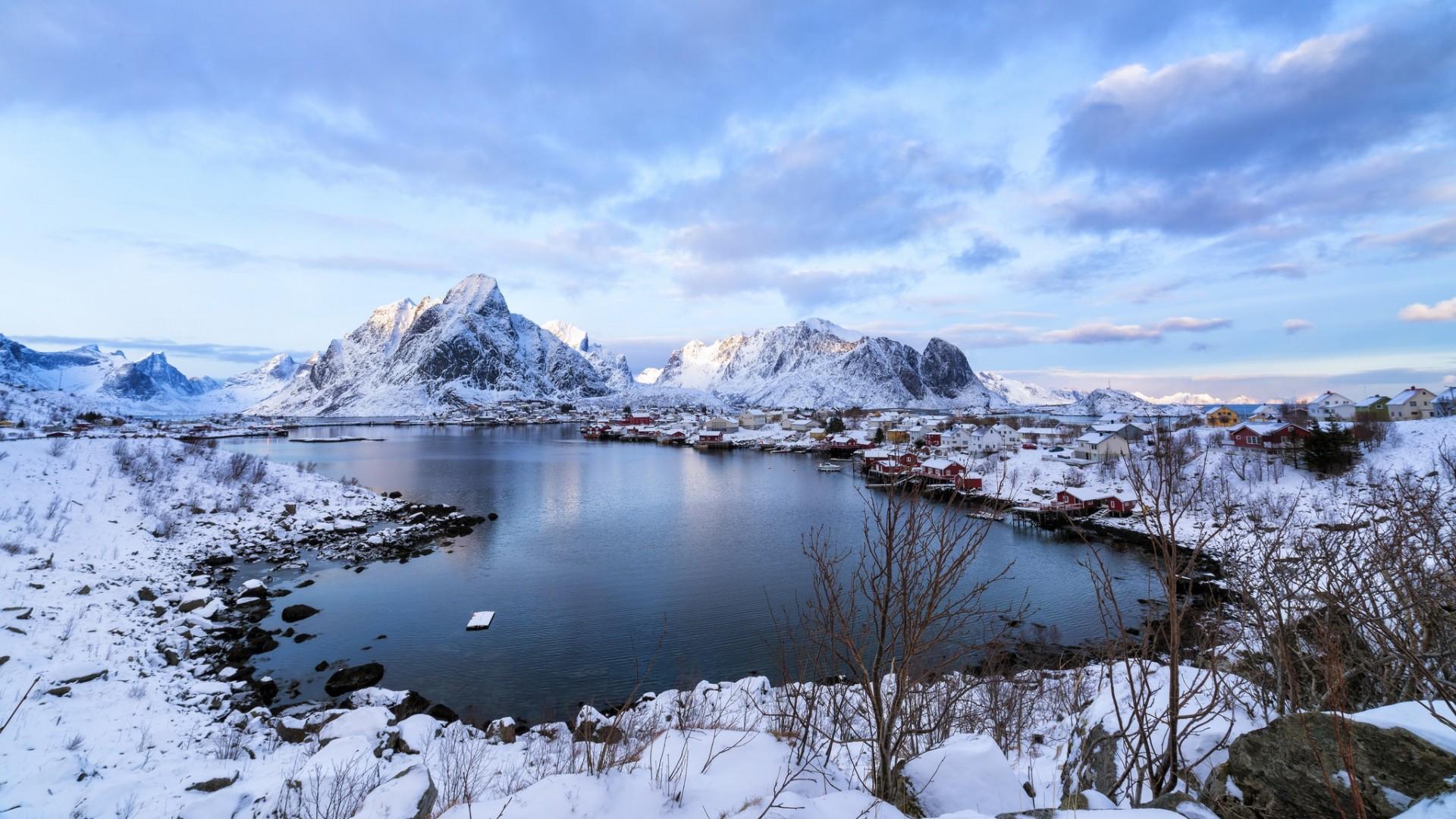 Wallpaper lofoten, norway, mountains, lake, winter