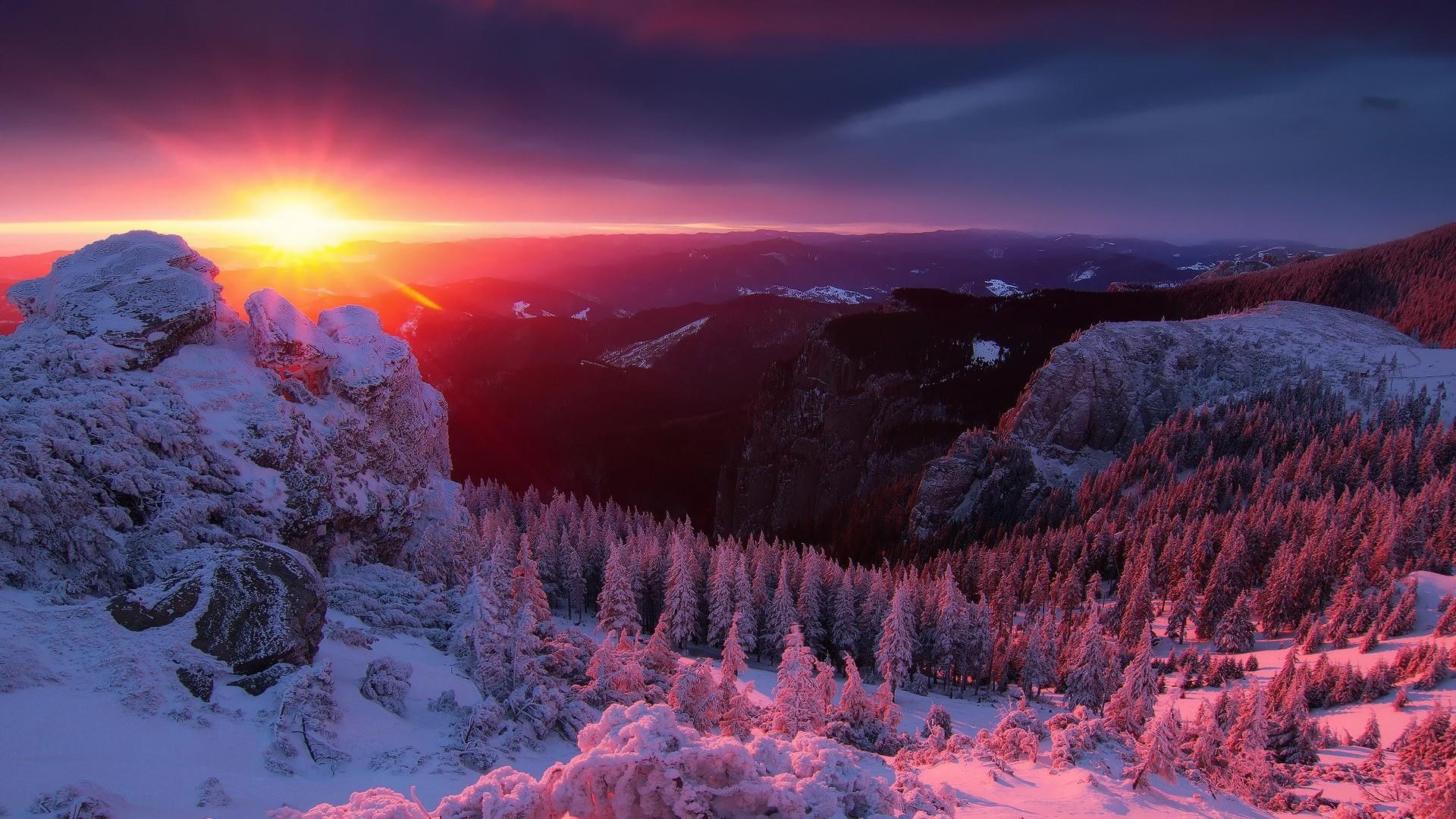 Wallpaper alps, mountains, winter, sunset