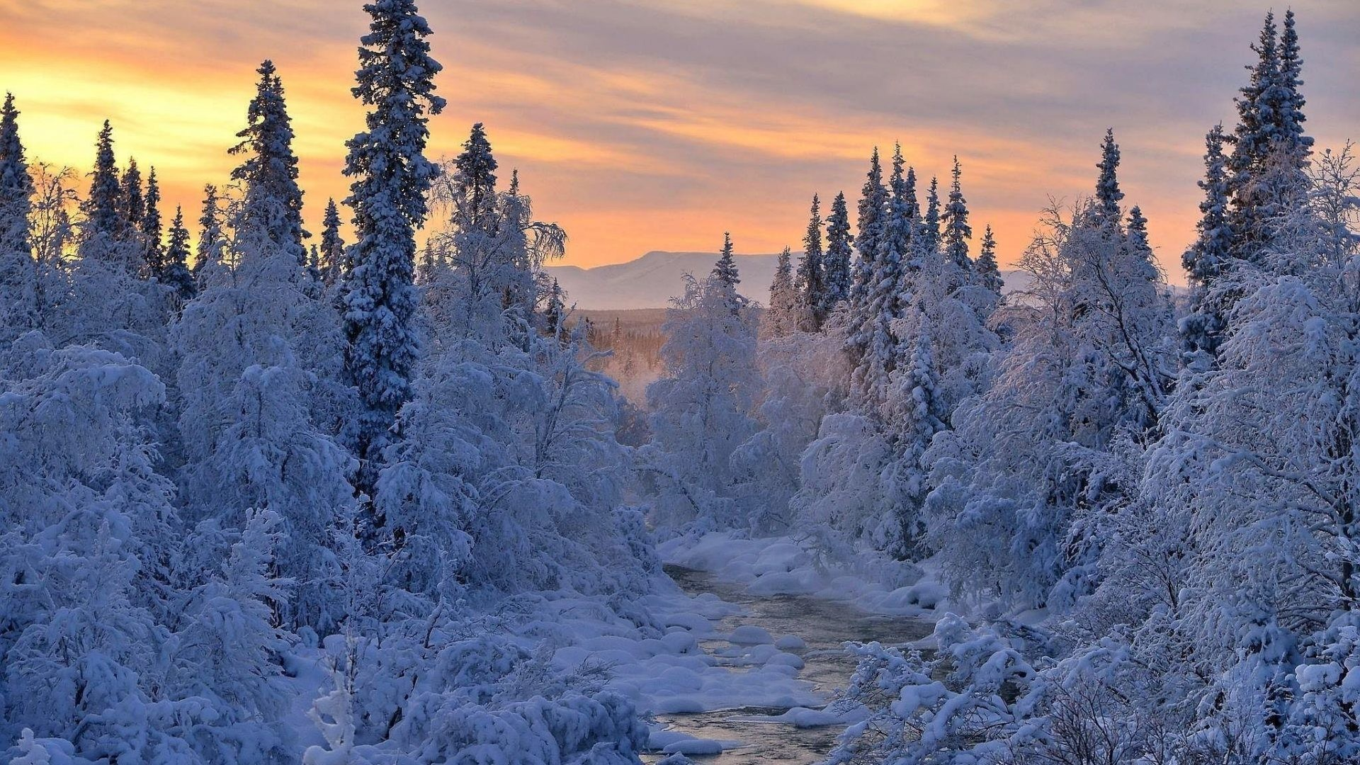 Rivers – Landscape River Winter Sunset Snow Beautiful Nature Hd Wallpapers  Free Download for HD 16