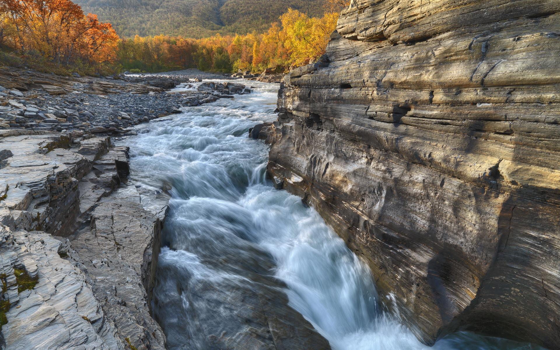 Sweden river rock fall autumn fall forest wallpaper