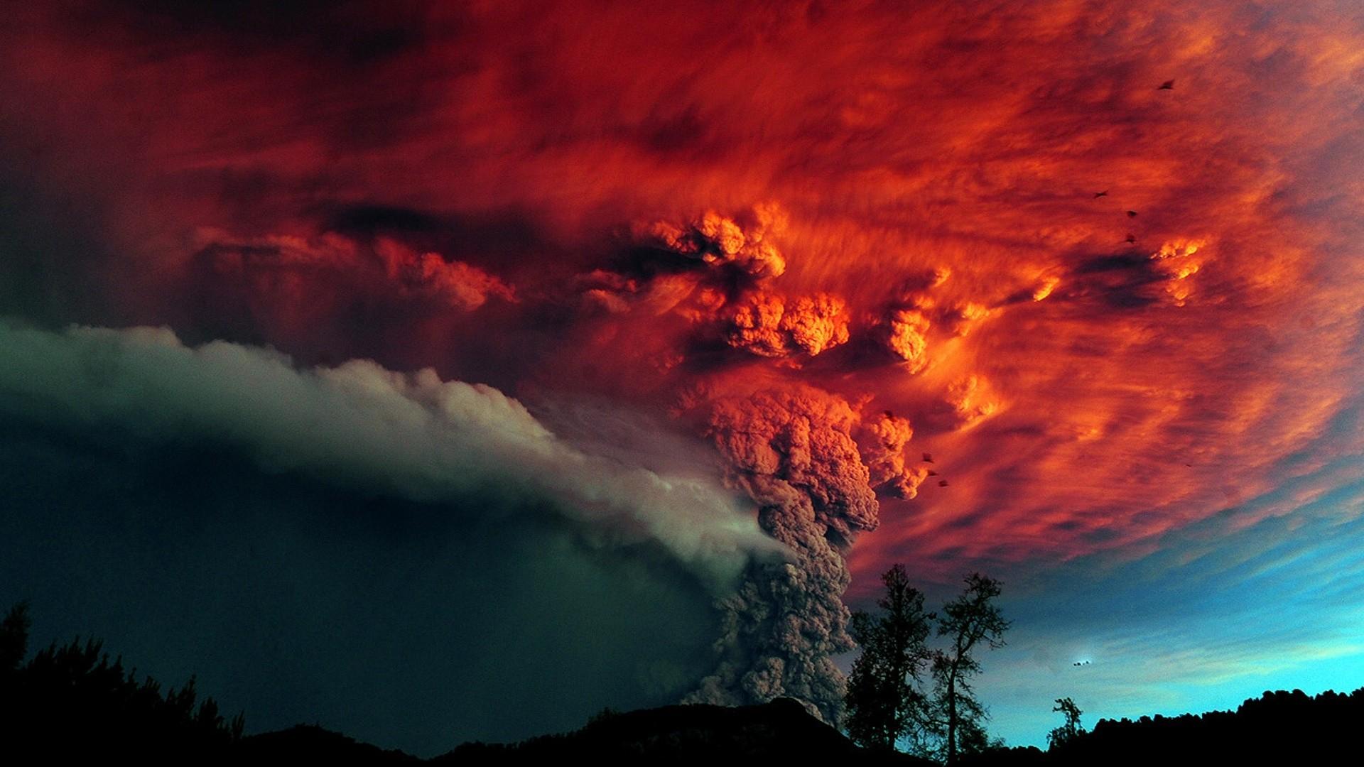 Preview wallpaper volcano, eruption, smoke, colors 1920×1080