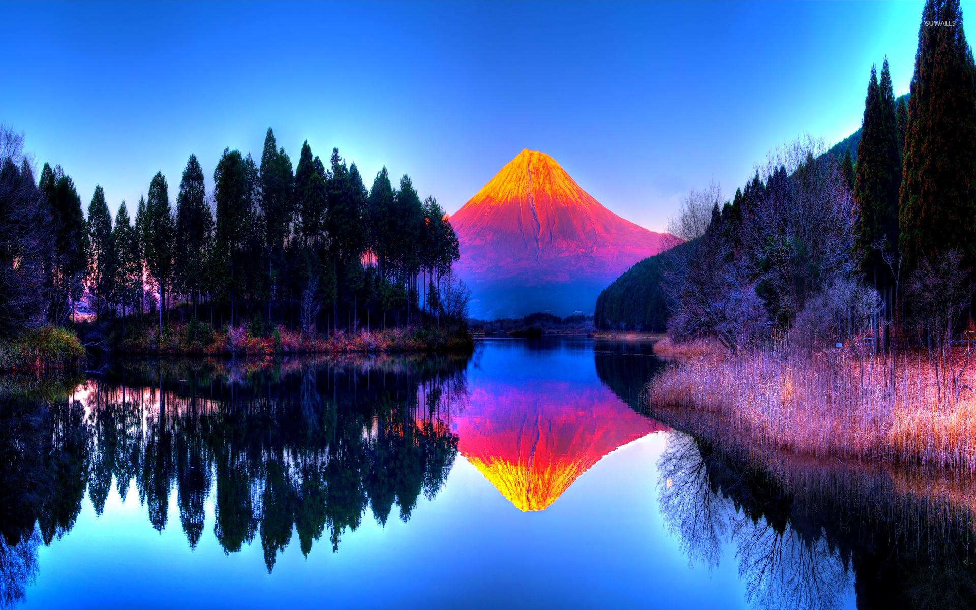Colorful volcano wallpaper