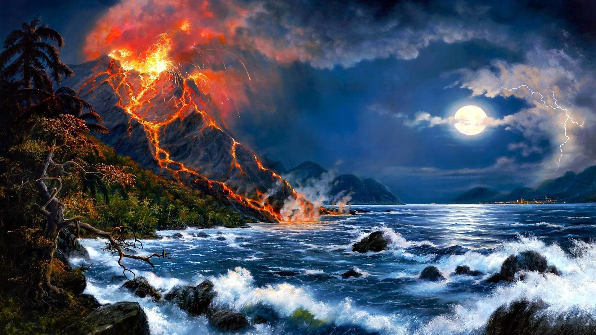 Fantasy Volcano Wallpaper