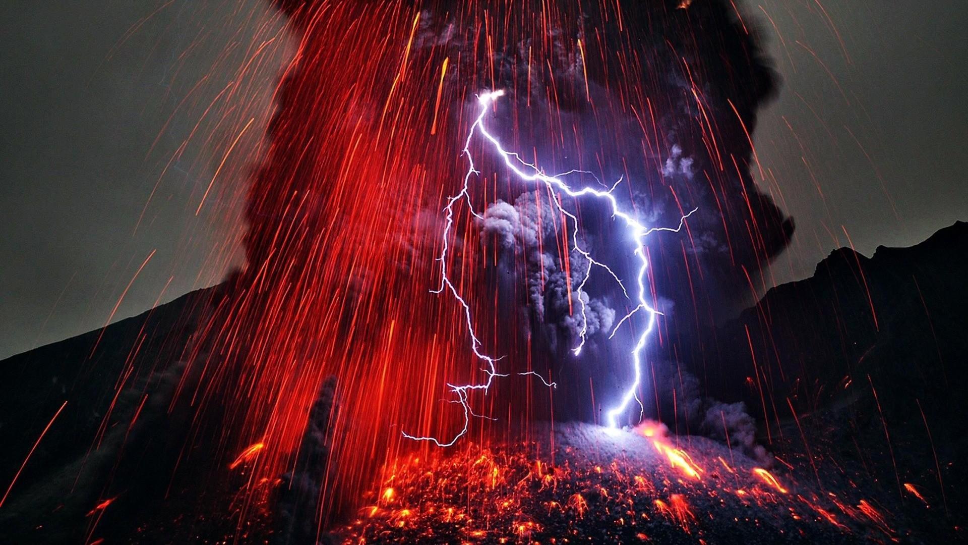 nature, lava, USA, Hawaii, thunder, landscape, volcano, wallpaper
