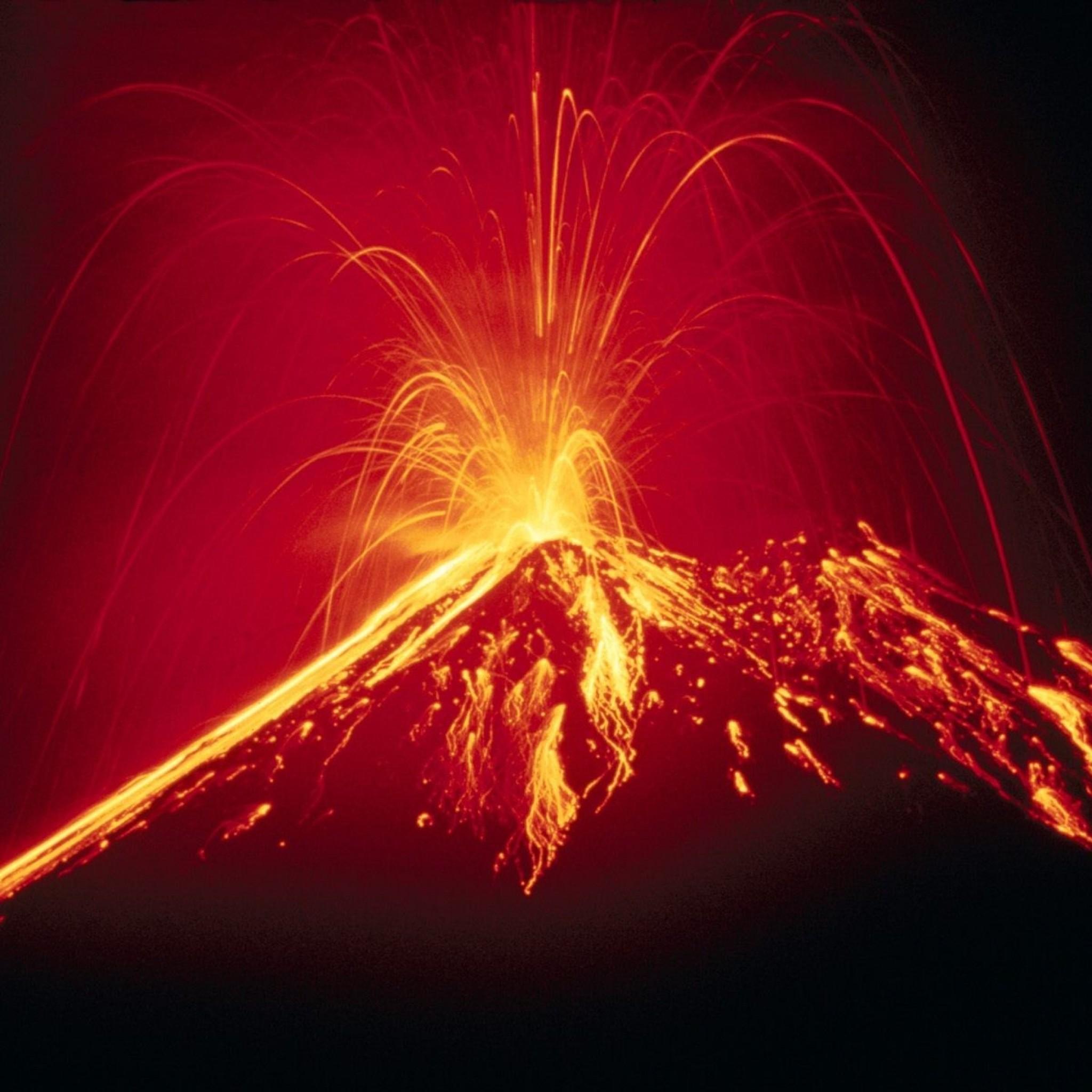 Preview wallpaper volcano, eruption, lava, fountain 2048×2048