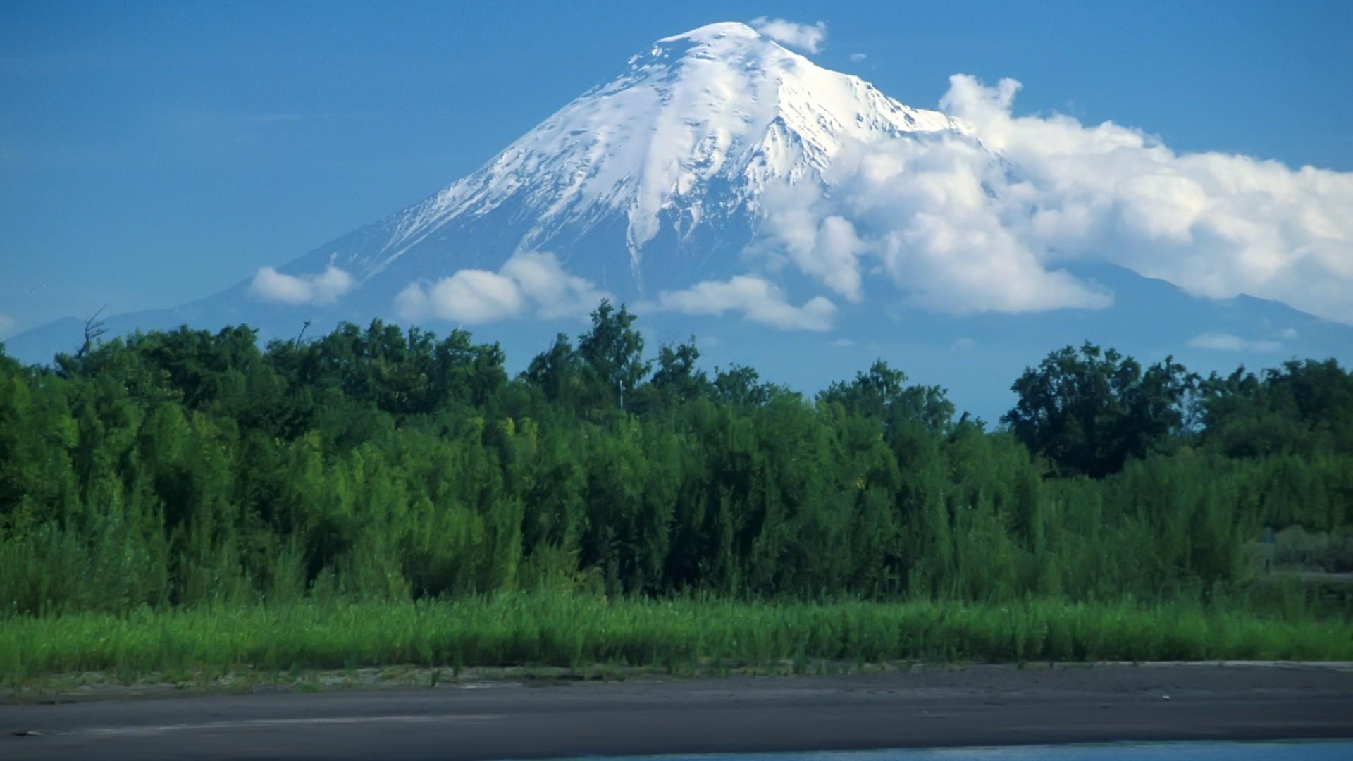 Preview wallpaper volcano, kamchatka, wood 1920×1080
