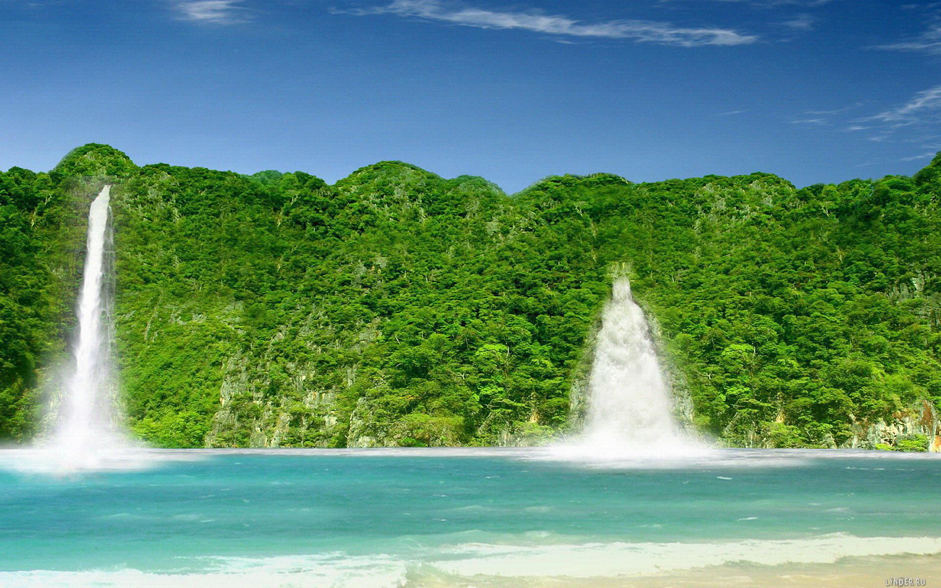earth waterfall Wallpaper Backgrounds