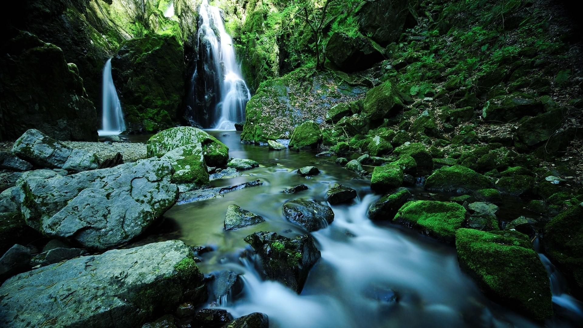 Wallpaper waterfall, stones, moss, water