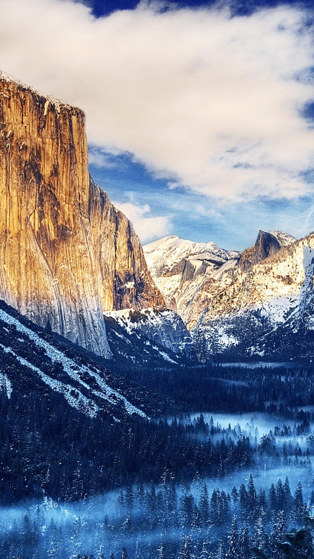 Yosemite National Park Winter Landscape iPhone 6 Plus HD Wallpaper