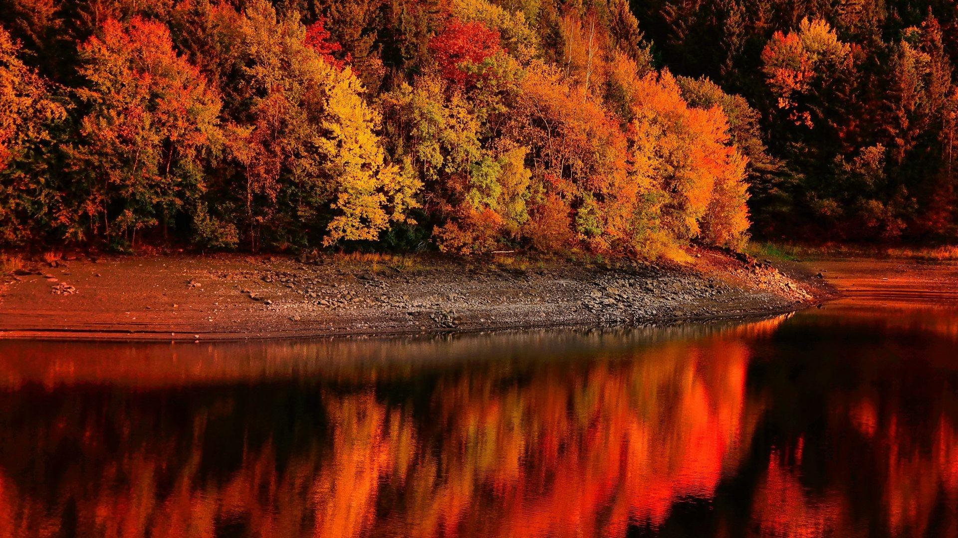 Autumn Tag – Serenity Fall Reflections Shore Red Lake Trees Calmness  Beautiful Foliage River Autumn Free