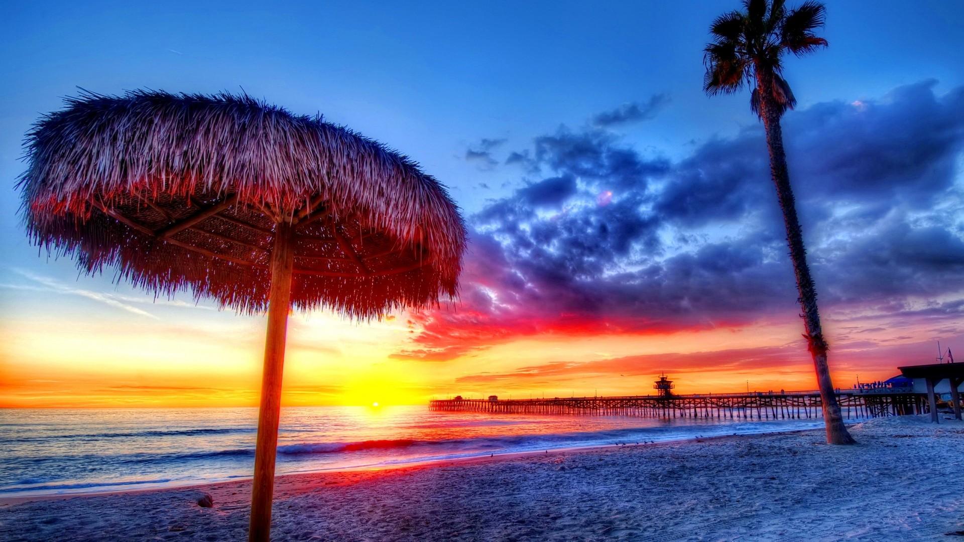 Wallpaper beach, tropics, sea, sand, palm trees, sunset, beautiful