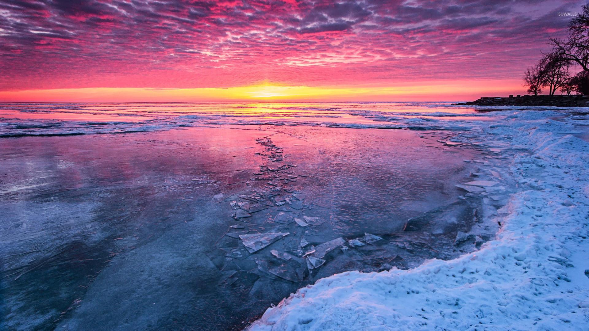 Frozen Jasper river wallpaper