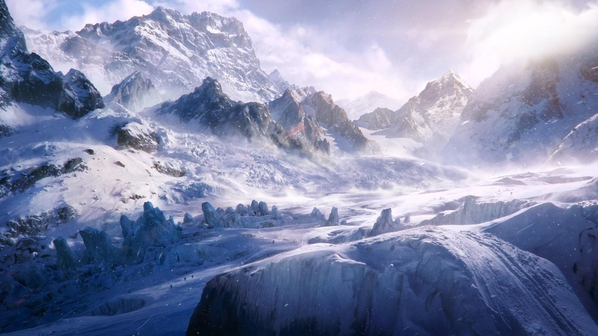 Snow Trekking HD Landscape Desktop Wallpaper   WallpaperCow.com