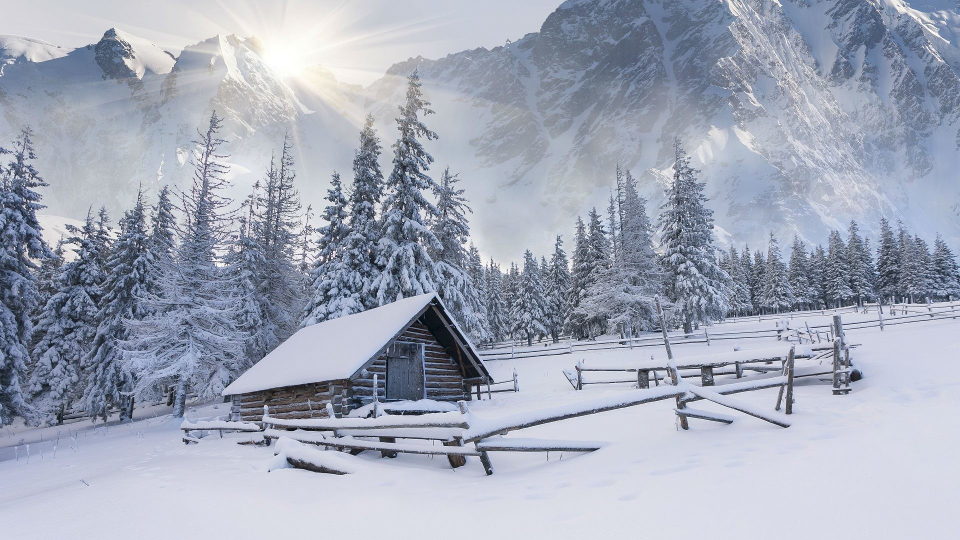 January 18, 2017 – Winter Mountains House Snow Nature Wide Wallpapers  Desktop for HD 16
