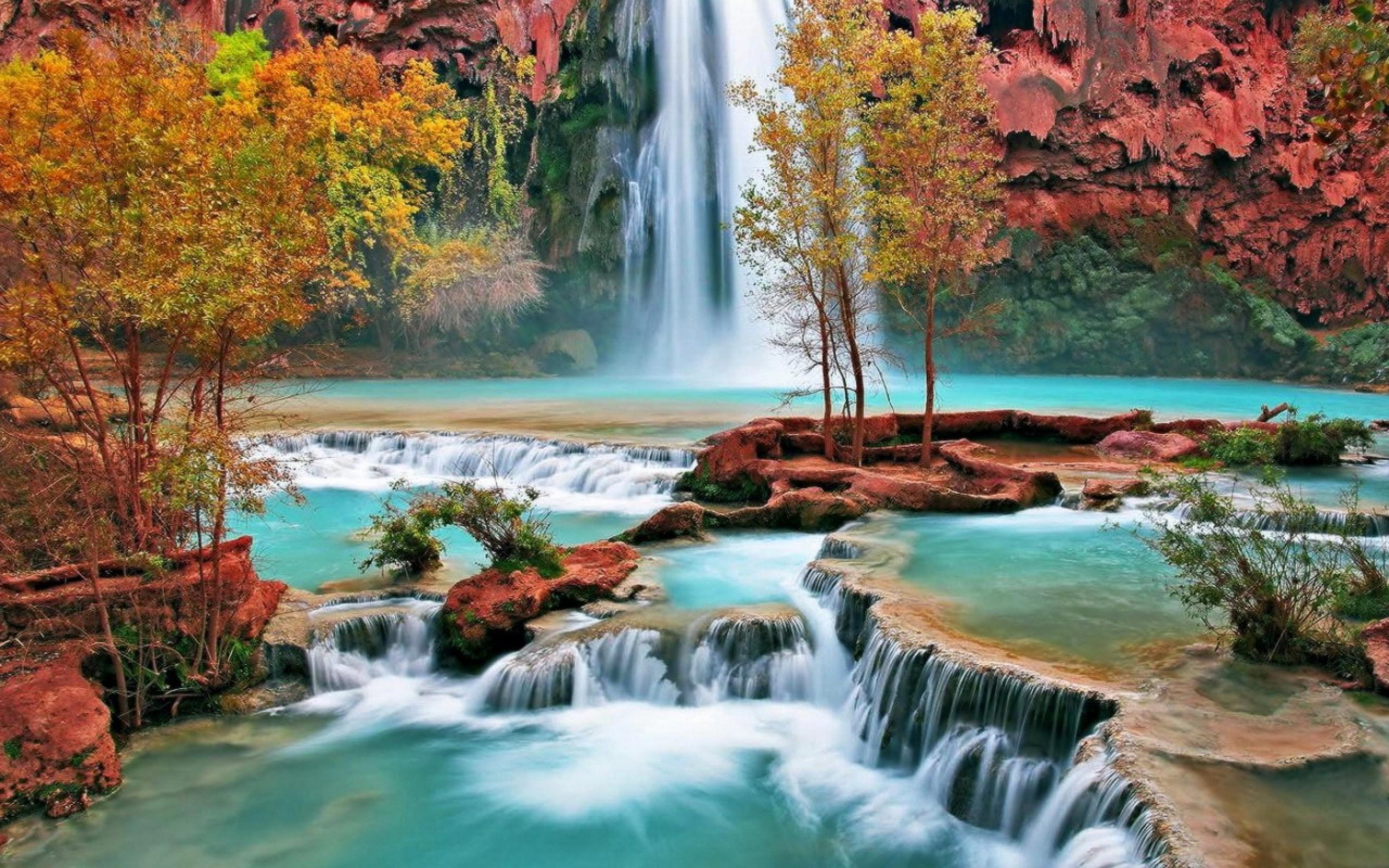 Beautiful waterfall nature scenery hd desktop wallpaper