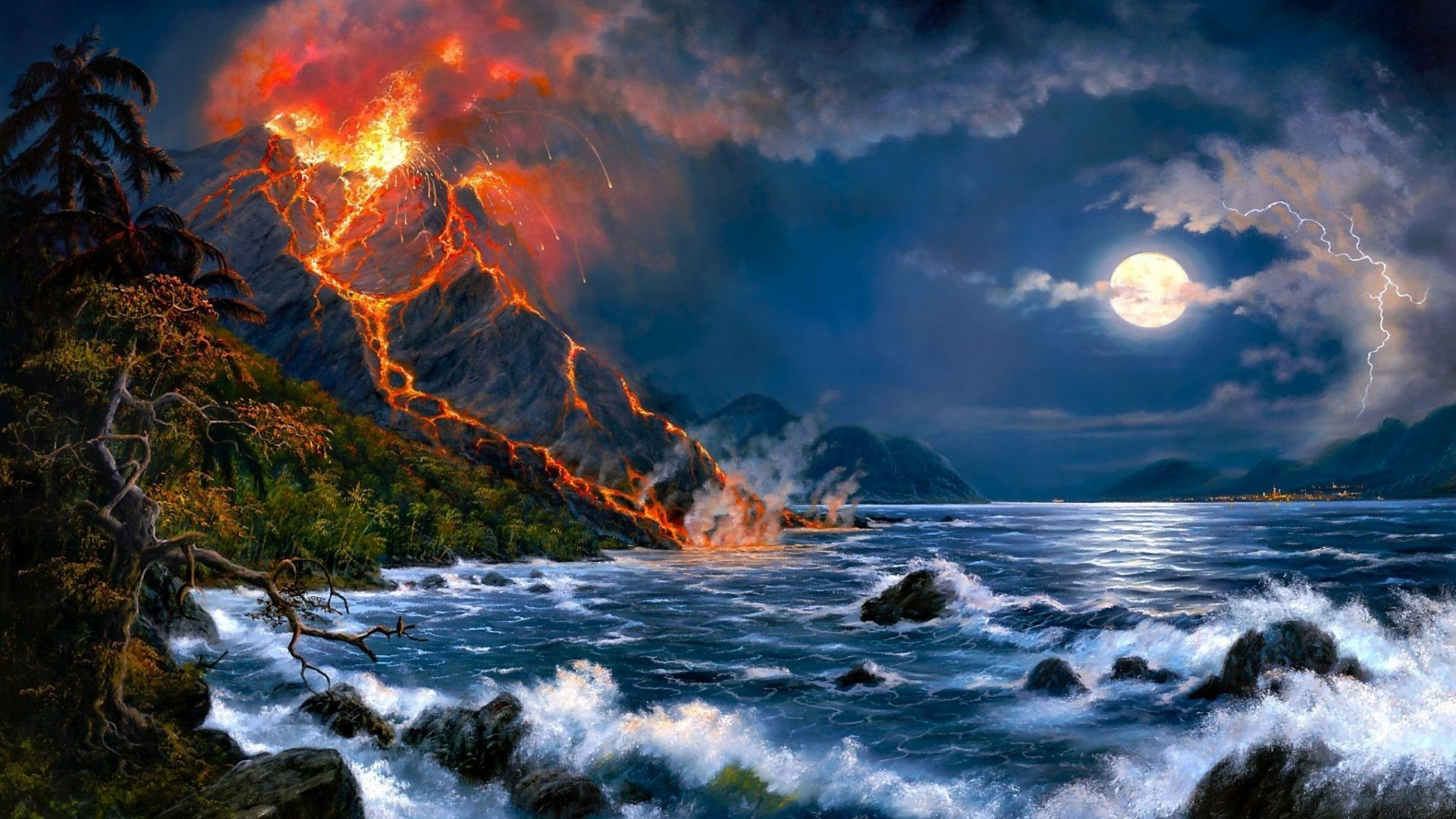 January 6, 2017 – Eruption Sea Scenery Wave Beautiful Force Art Magnificent  Painting Clouds Volcanic