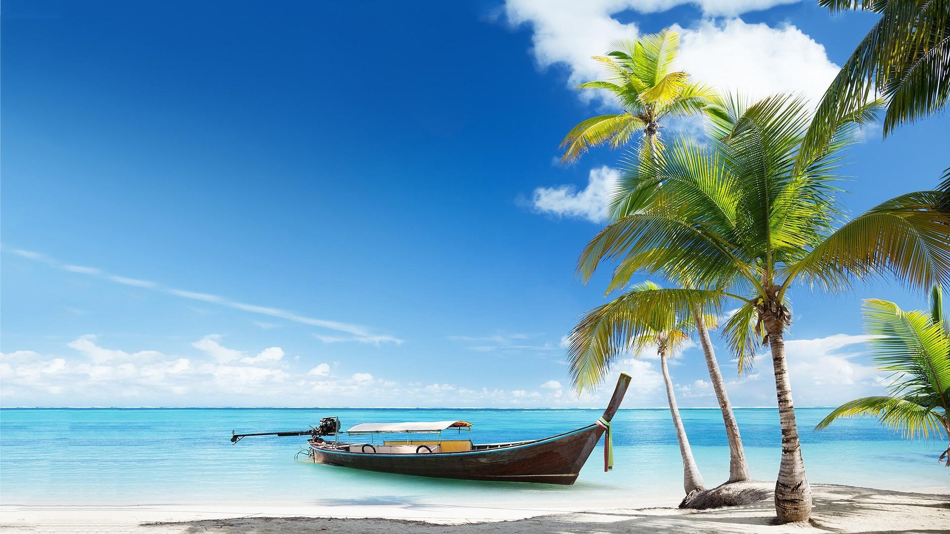 Beach HD Wallpaper Free Download. Boat-Tropical-Beach