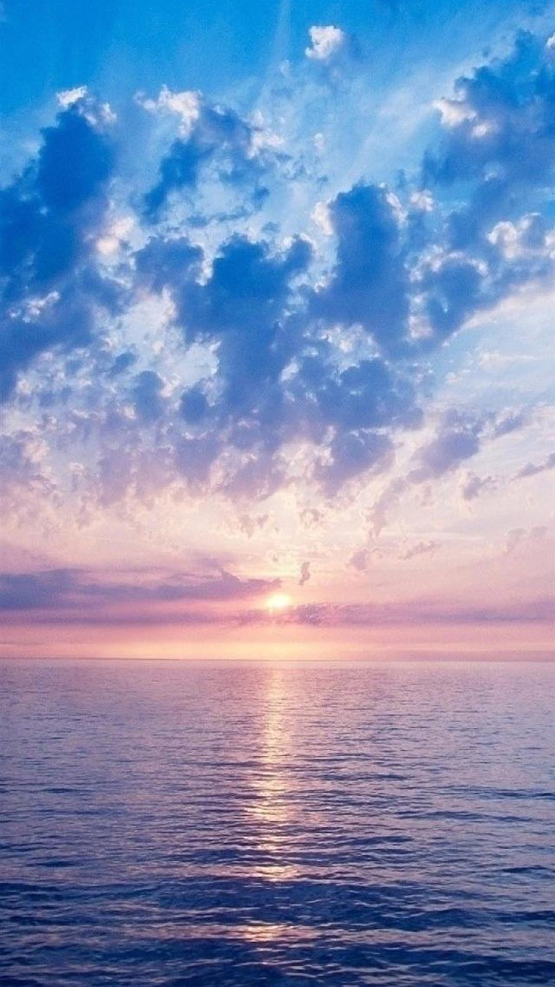 Nature Fantasy Purple Sunrise Scene Over Sea #iPhone #6 #plus #wallpaper