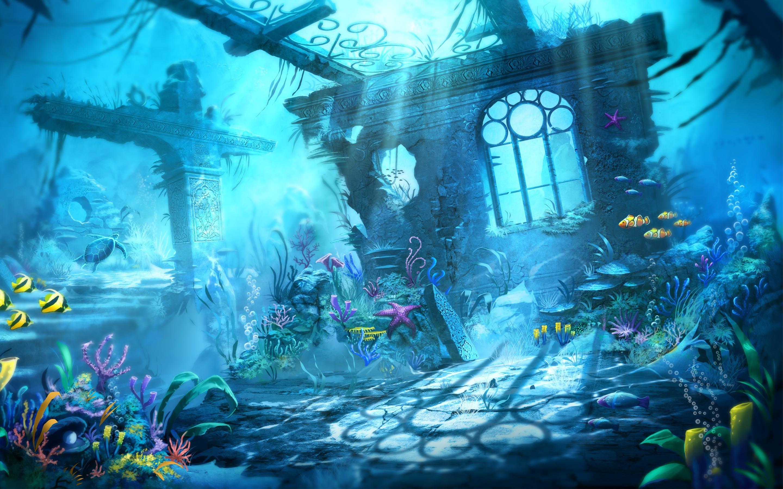 Blue Water Mermaid Underwater Scene Sharks Beauty Ocean Desktop Wallpaper  Oceans