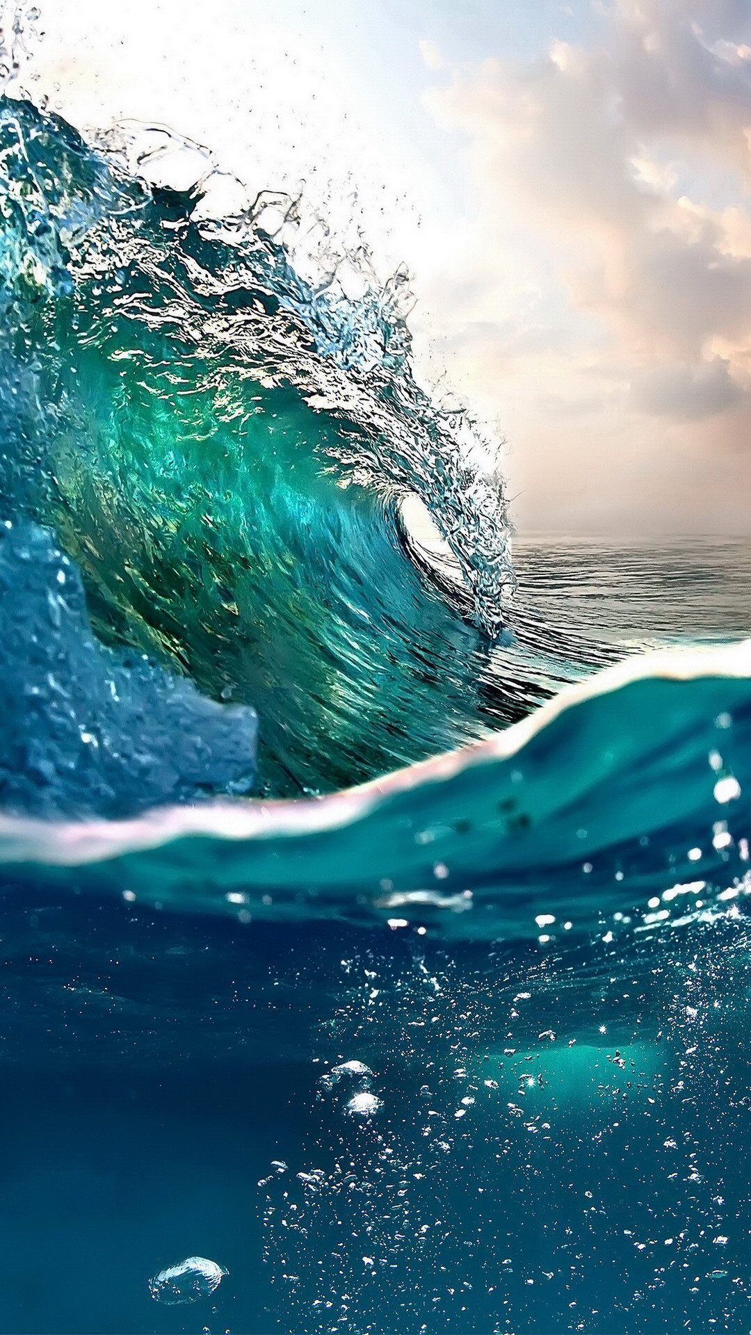 Beautiful deep blues and aqua ocean wave.