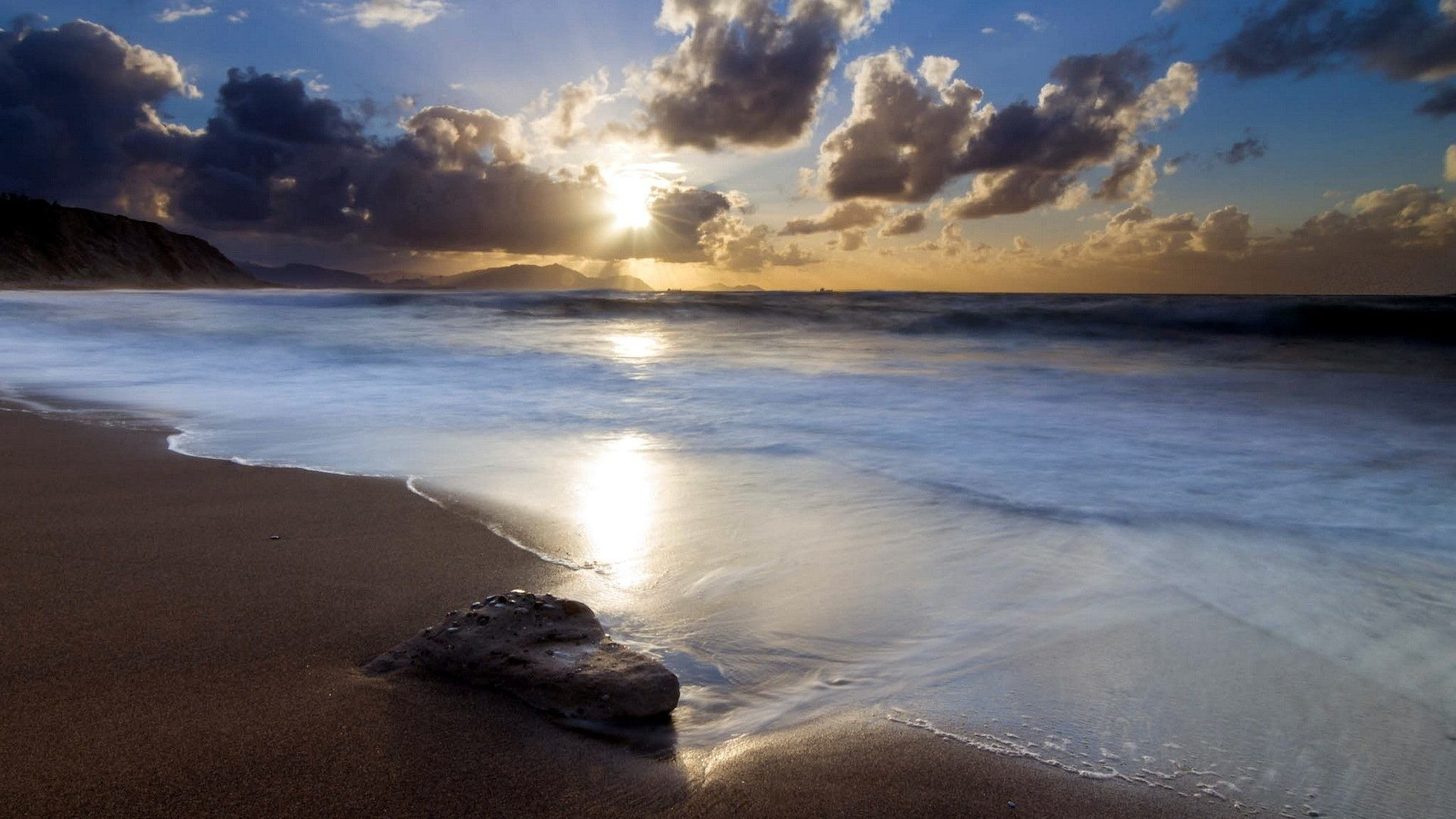 Beaches – Nature Sunset Splendor View Rays Sand Ocean Reflection Sun  Beautiful Peaceful Waves Clouds Beauty