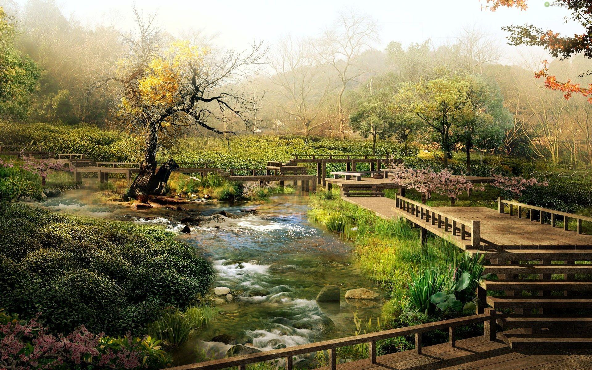 Garden : Zen Garden Photography Bridge Green Japan Lake Full Hd ~ HeimDecor