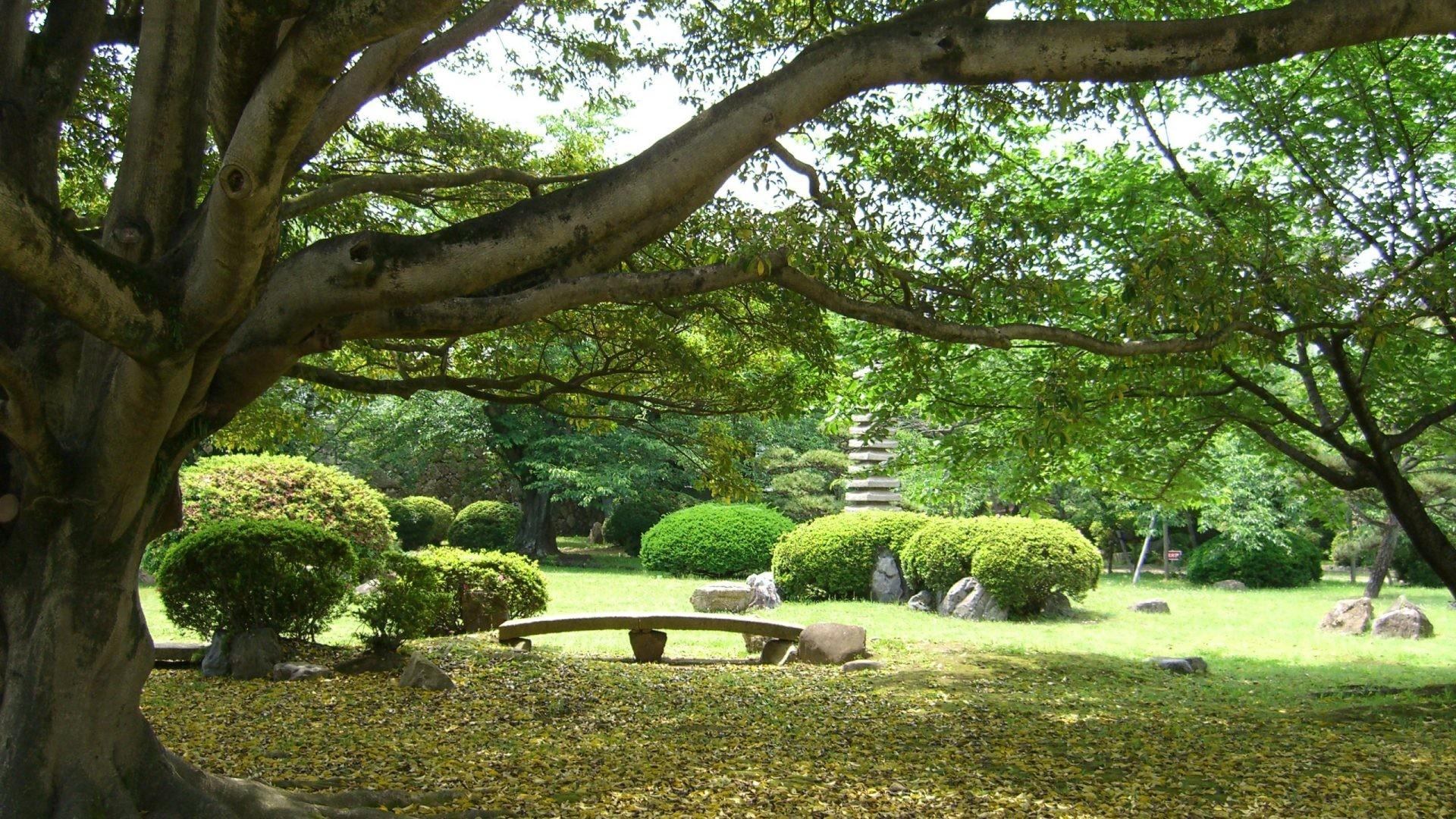 Gardens Tag – Japanese Gardens Seat Trees Zen Statue Grounds Tranquil Japan  Shrubs Leaves Himeji Castle