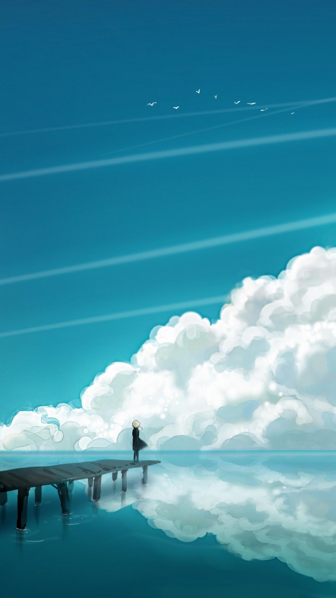 Preview wallpaper clouds, sky, bridge, people, reflection, sea 1080×1920