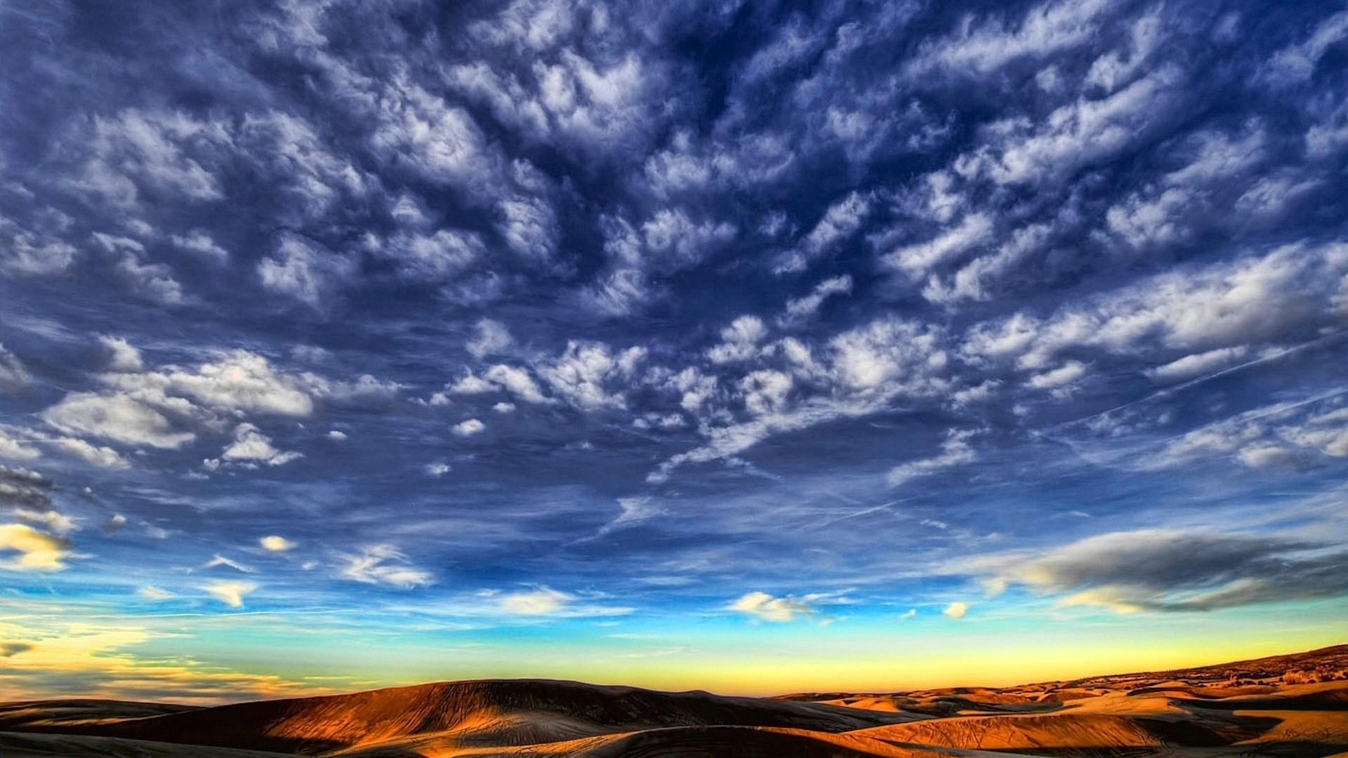 Wallpaper clouds, sky, lines, patterns, desert