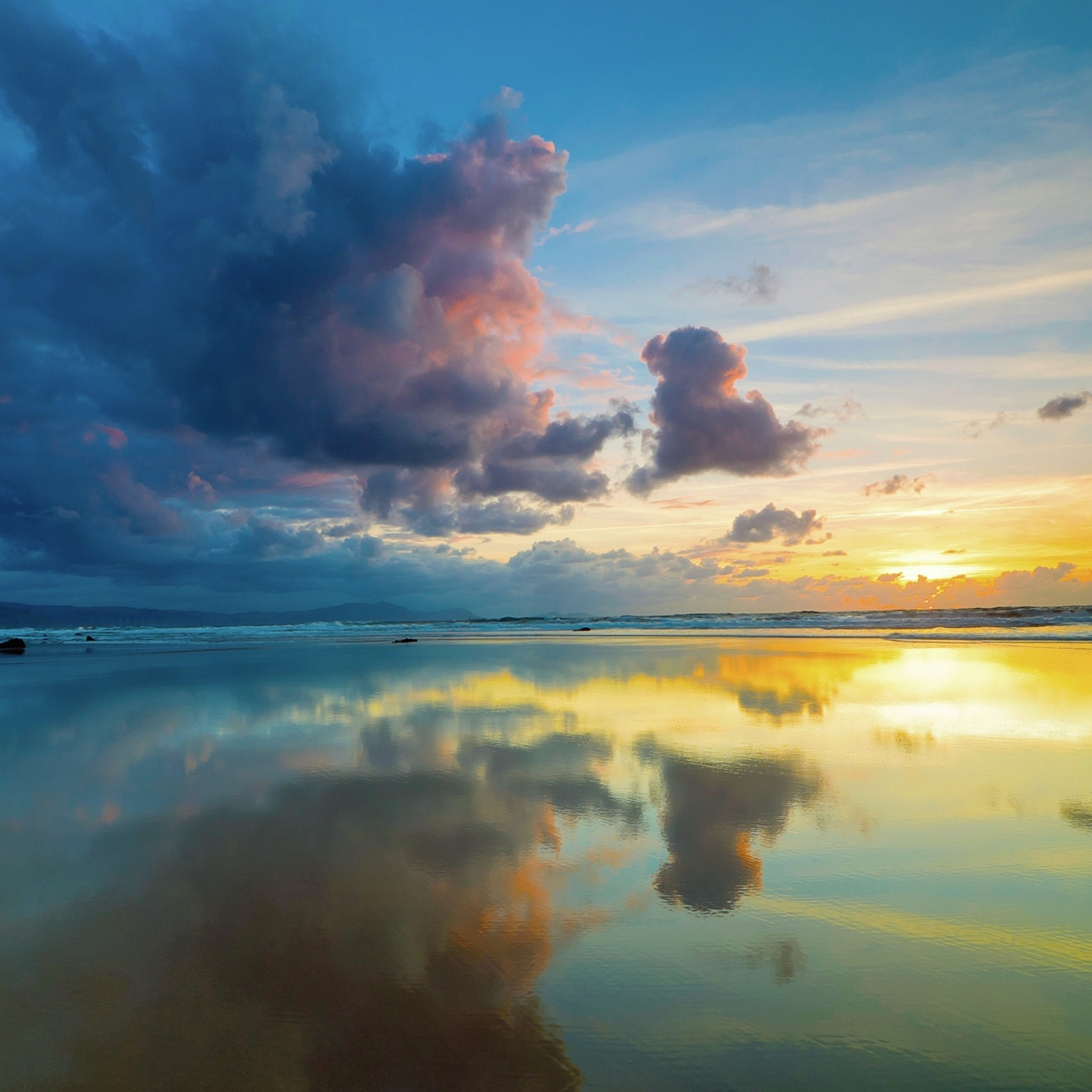 Wallpaper clouds, sky, sea, reflection, mirror, evening