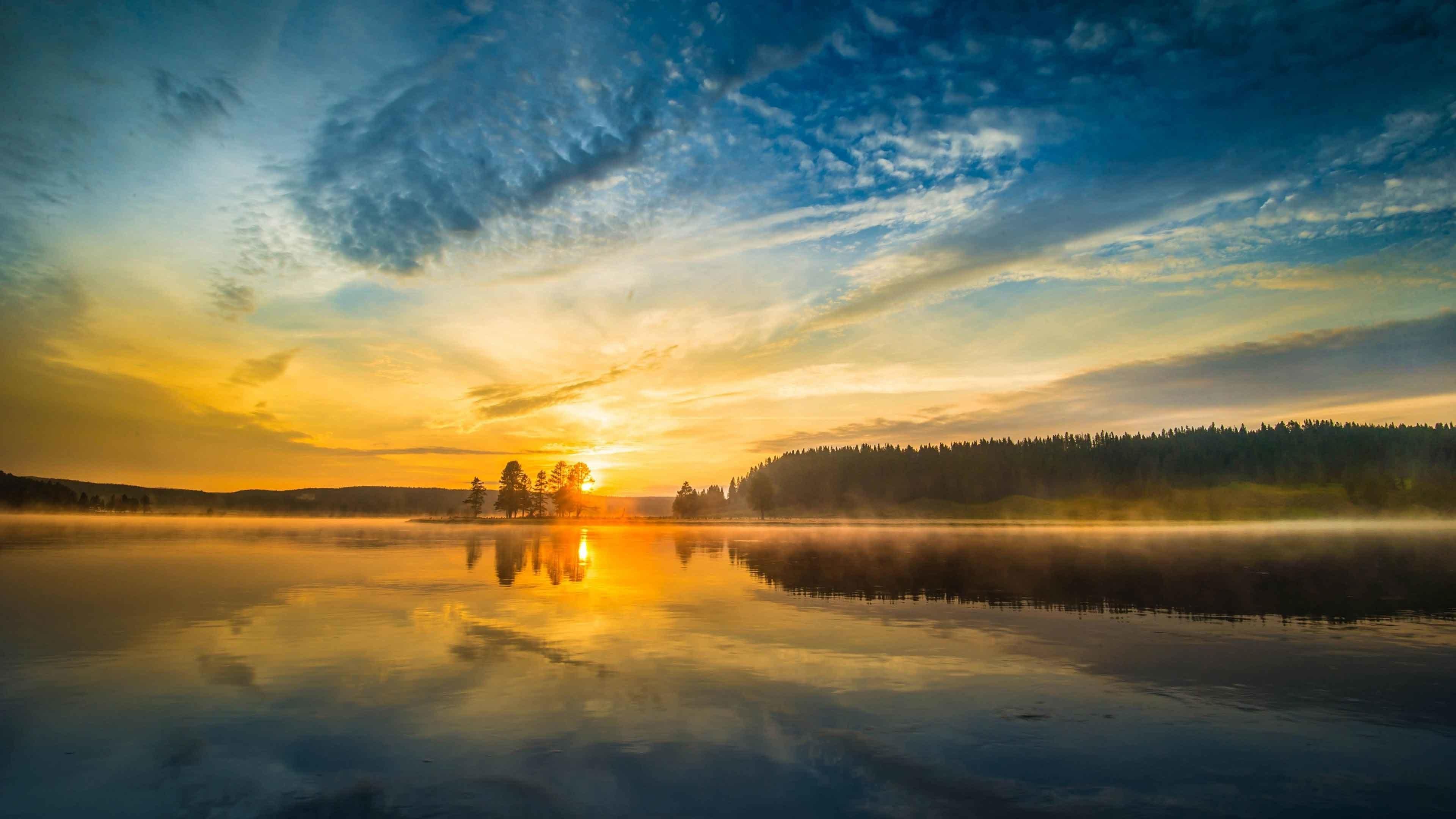 Sunrise Sunset Lake Fog Clouds Sky Mist Wallpaper Nature Beauty Desktop HD