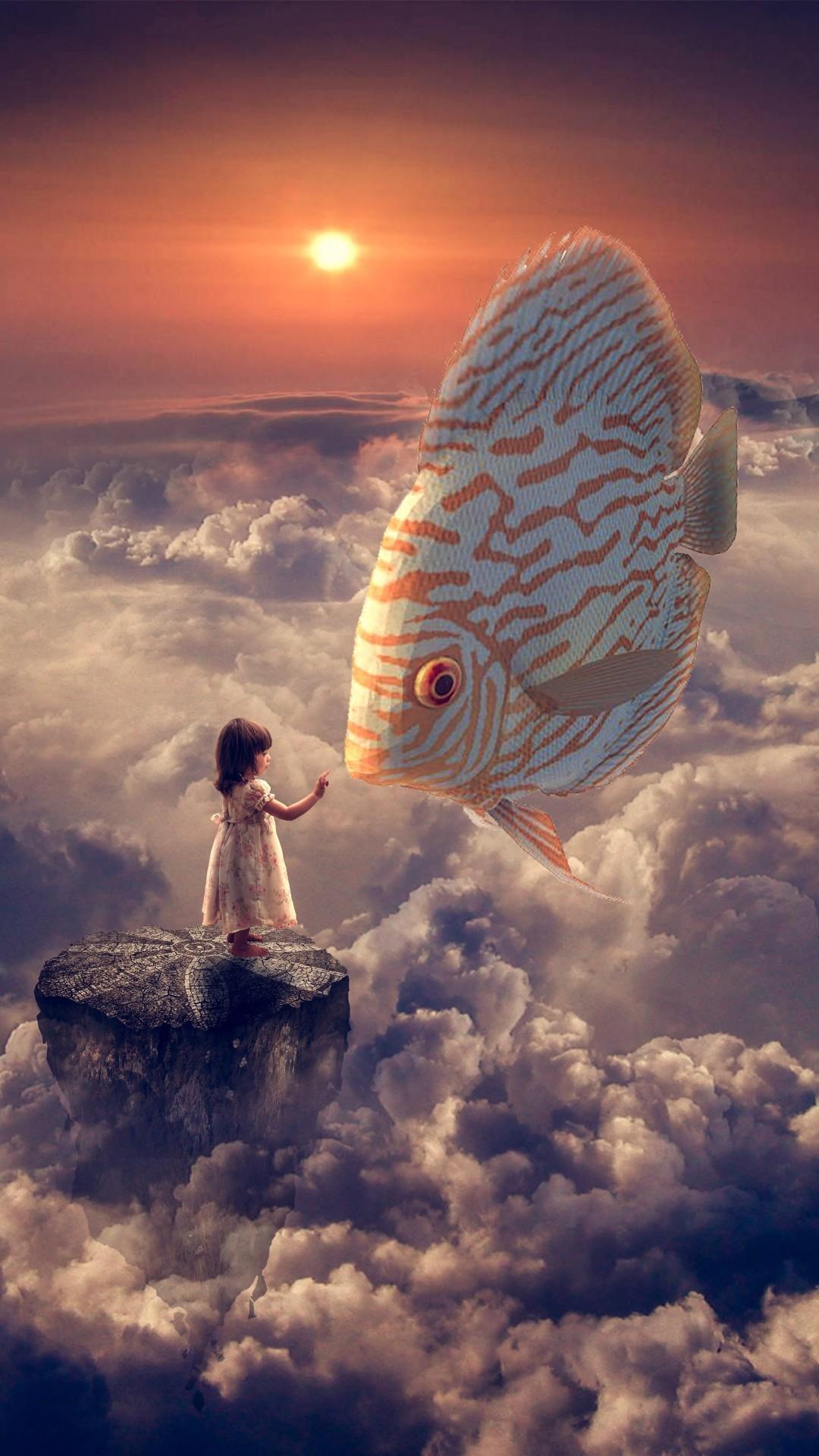 Fantasy Girl Fish Clouds Sky iPhone 8 wallpaper