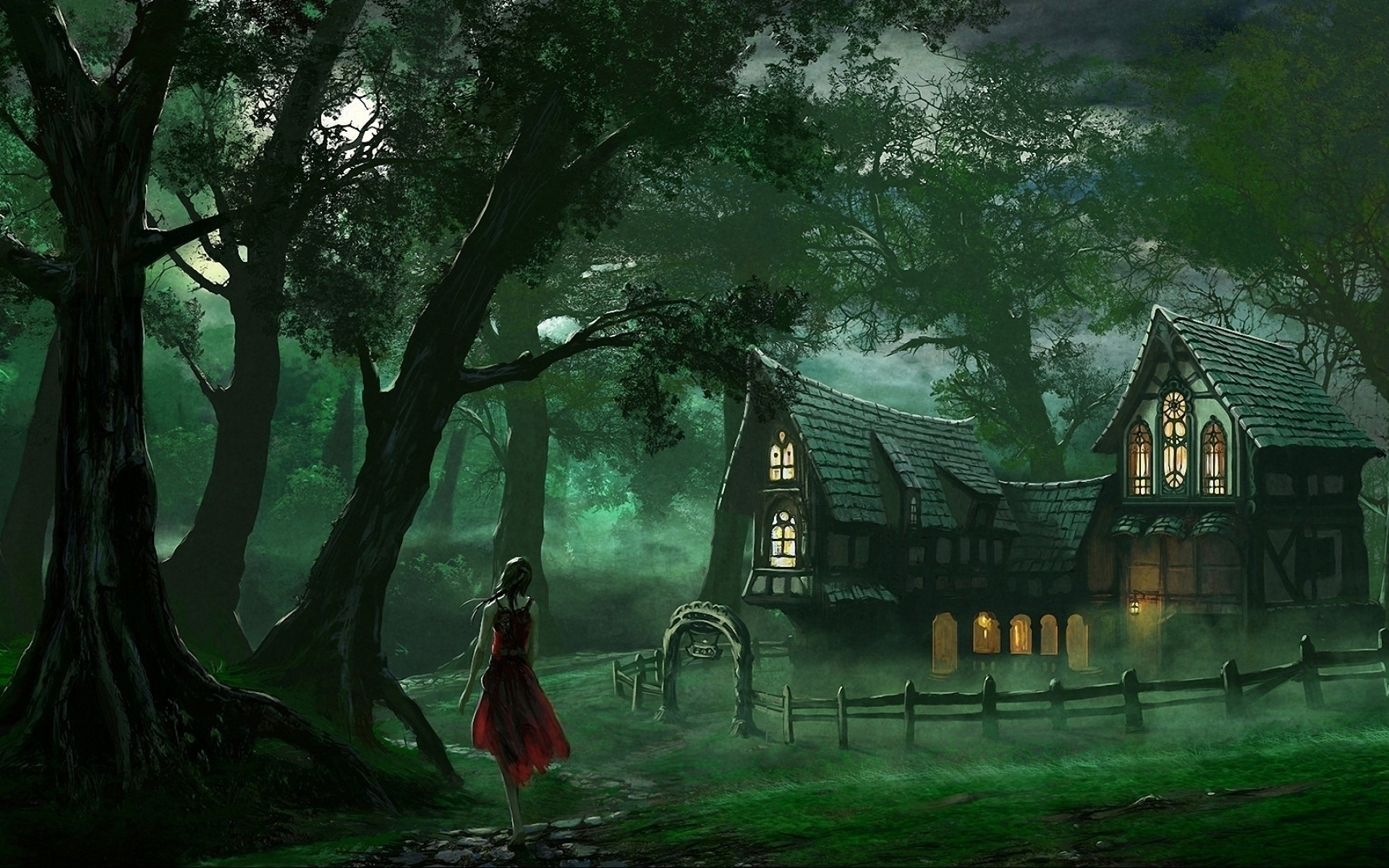 Woman Forest Path House Fences wallpapers and stock photos