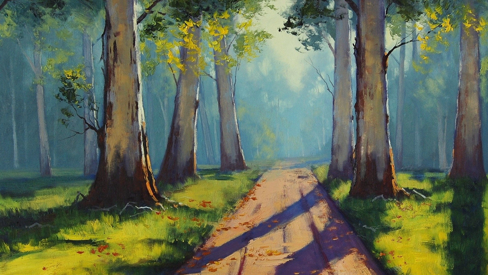 Painting Forest Path Sunlight