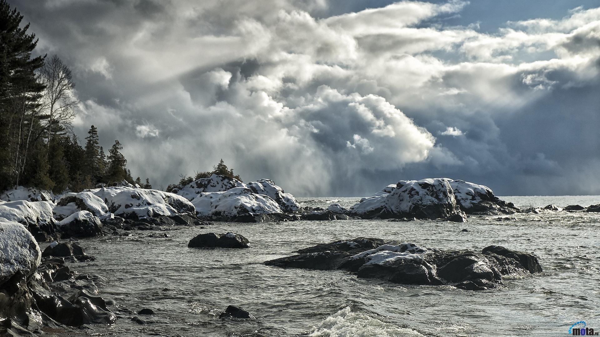 Wallpaper Snow storm over the lake (1920 x 1080 HDTV 1080p). Desktop .