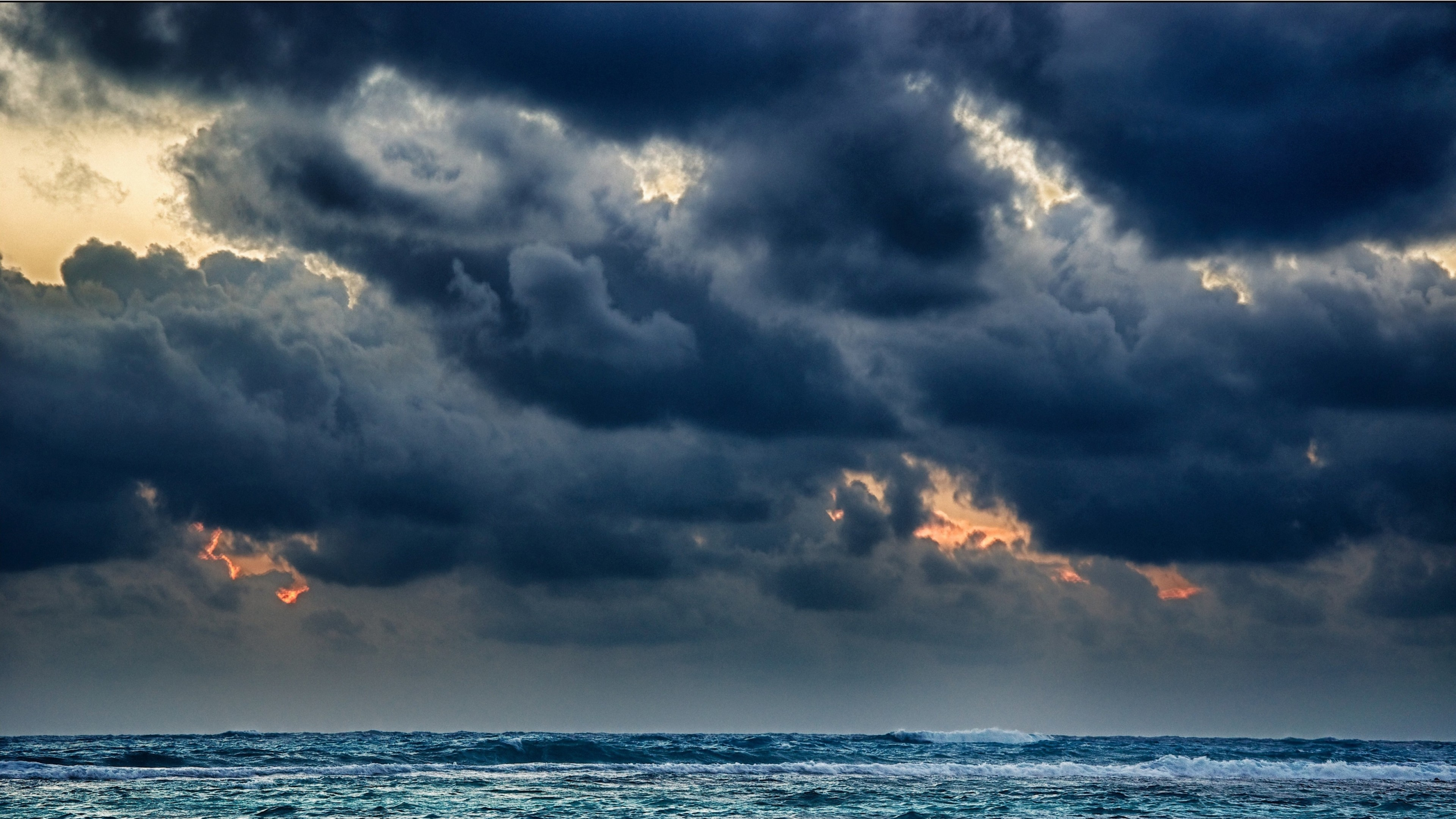 Preview wallpaper clouds, sea, storm, gloomy, heavy, elements 3840×2160