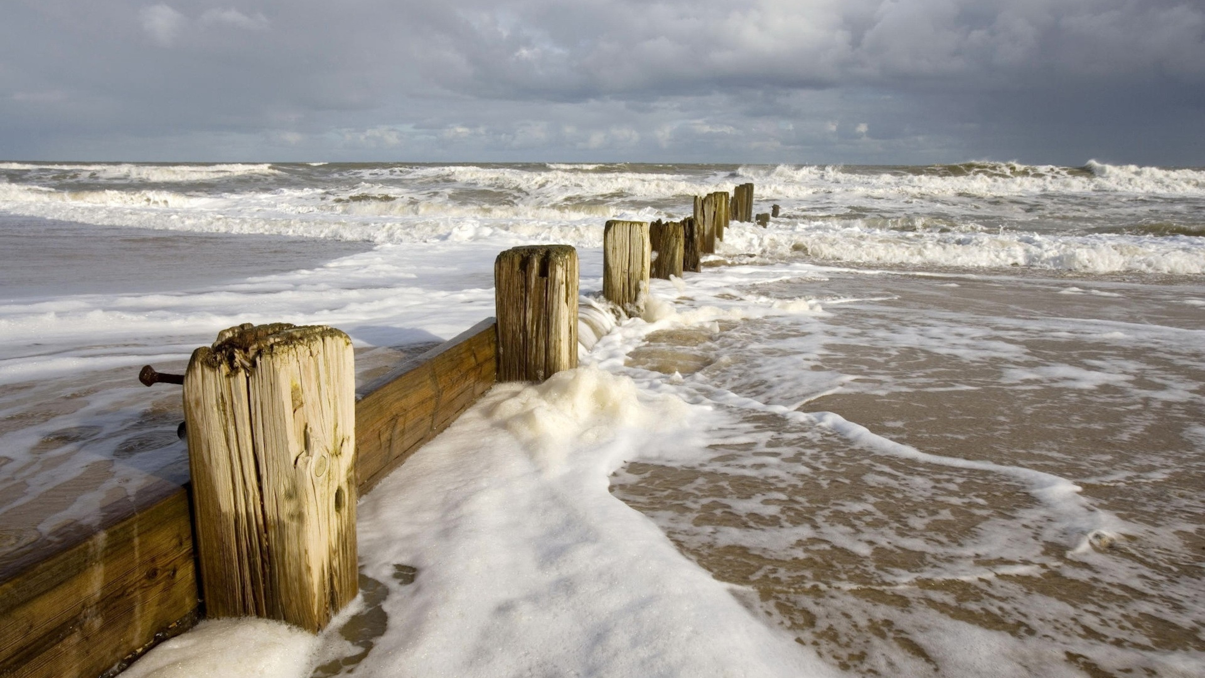 Preview wallpaper sea, storm, waves, dirty water, stakes, coast, foam
