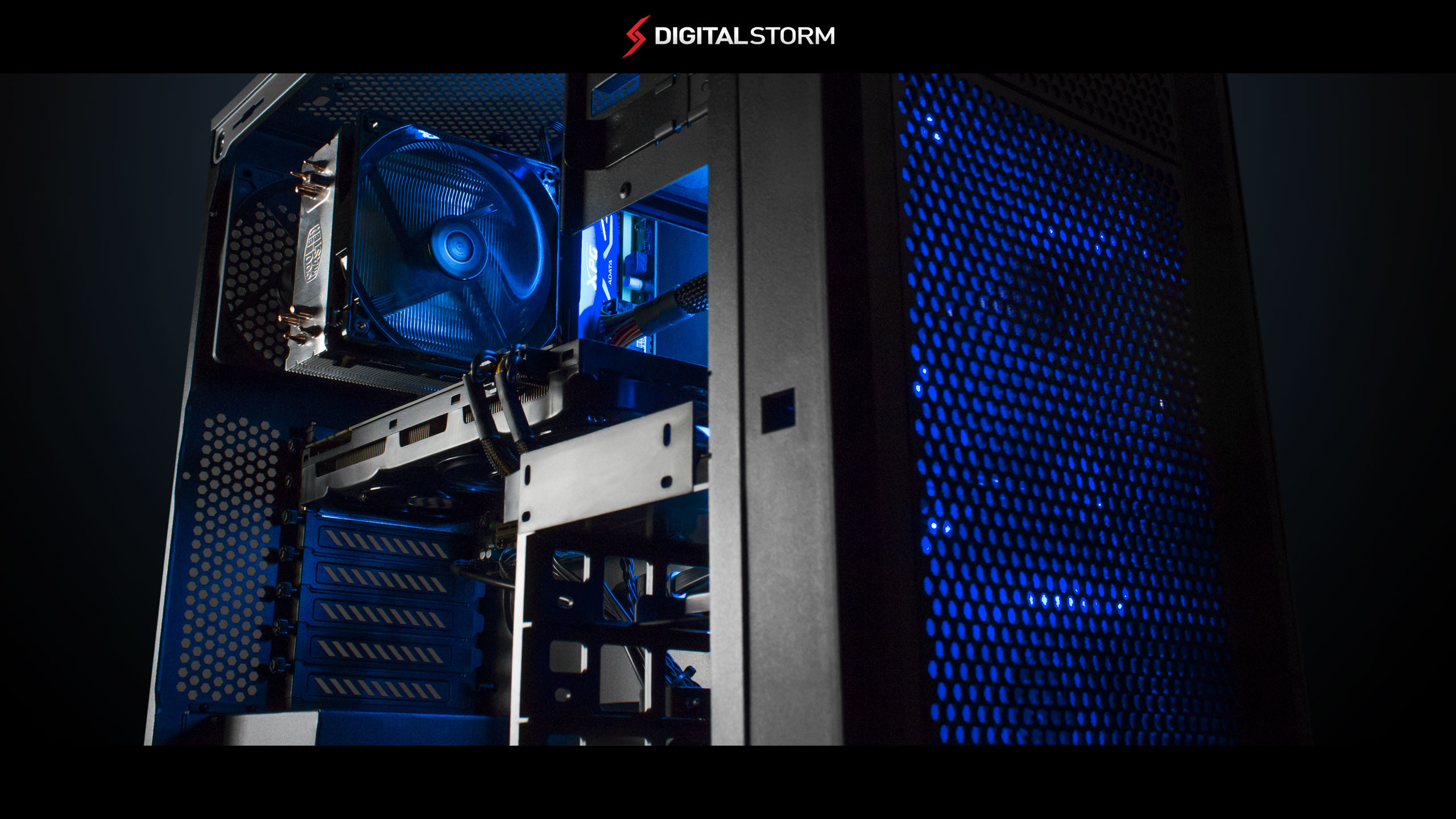 f. Digital Storm Blue Dominance Wallpaper