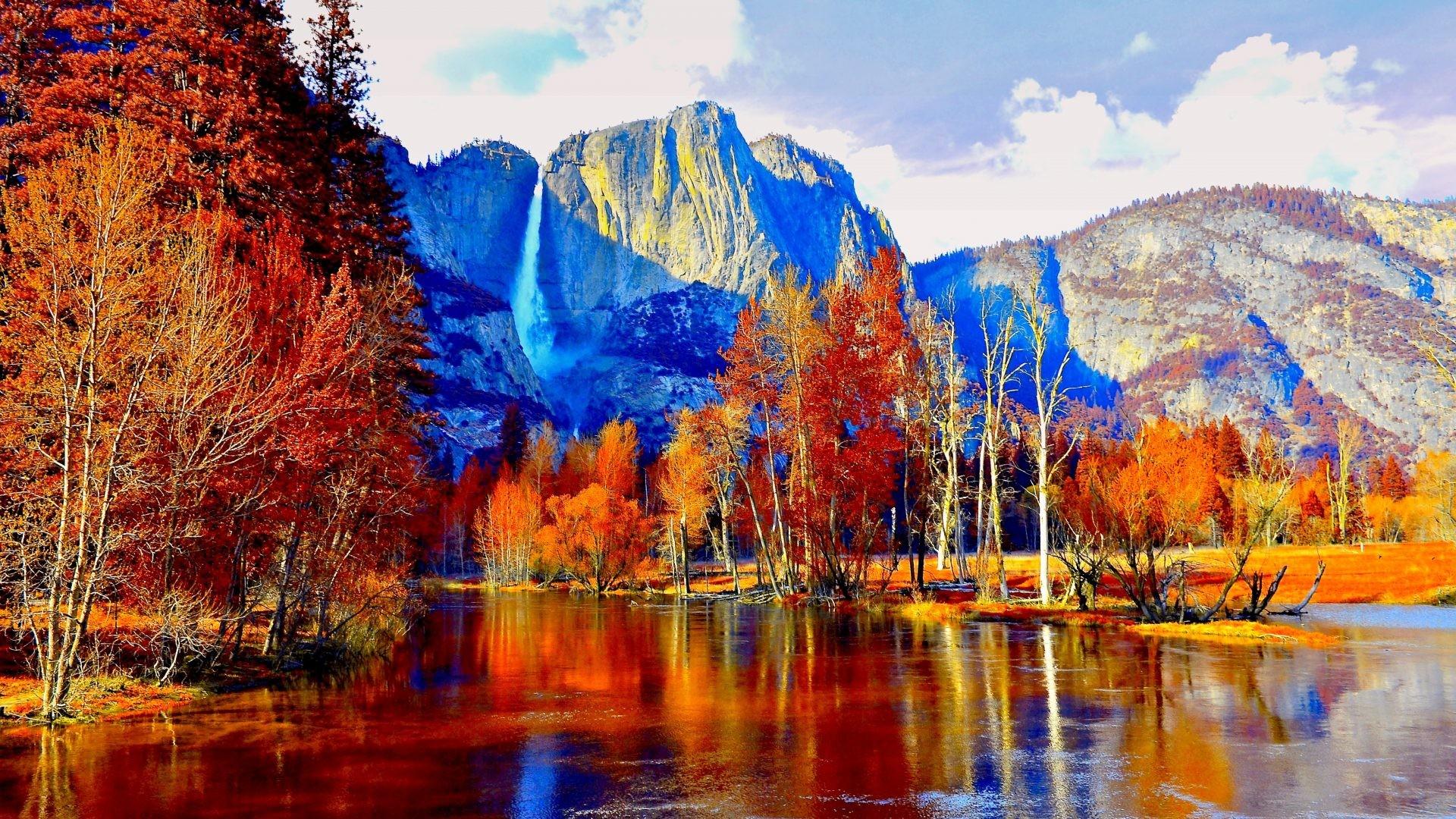 Amusement Parks – AUTUMN YOSMITE Yosemite National Park Lake Falls Mountain  Wide Screen for HD 16