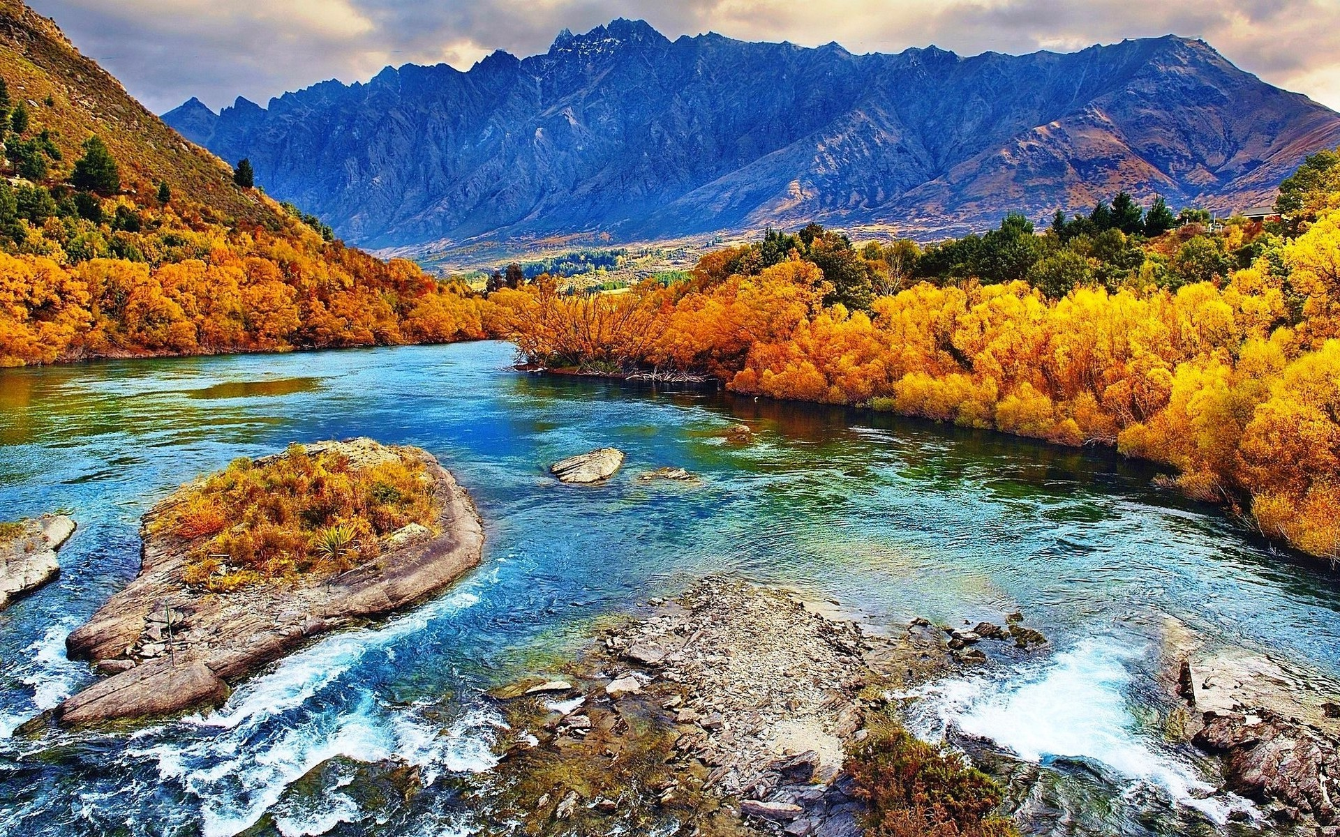 nature, Landscape, Fall, River, Forest, Mountains, Yellow, Trees, New  Zealand Wallpapers HD / Desktop and Mobile Backgrounds