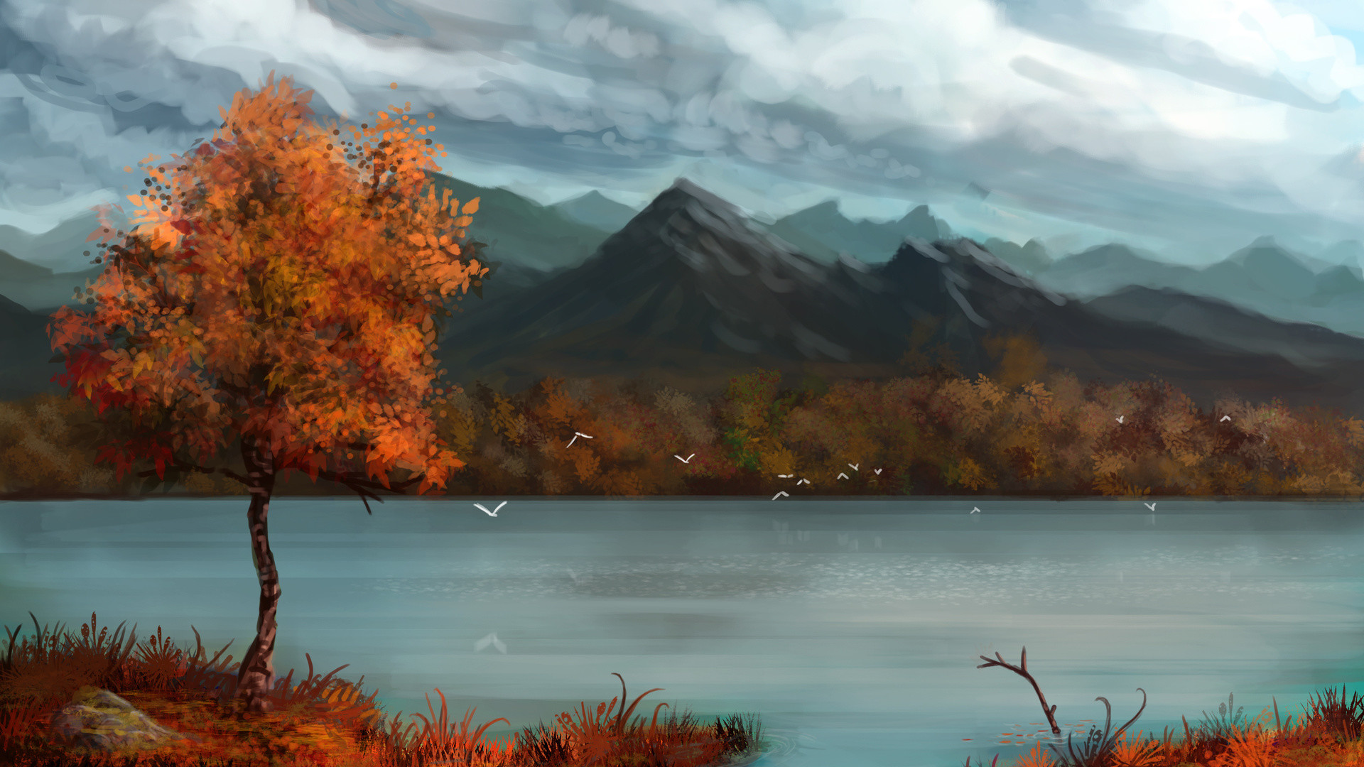 Autumn Forest Rivers Lakes Backgrounds | paintings art landscapes lakes  mountains sky clouds tree forest autumn
